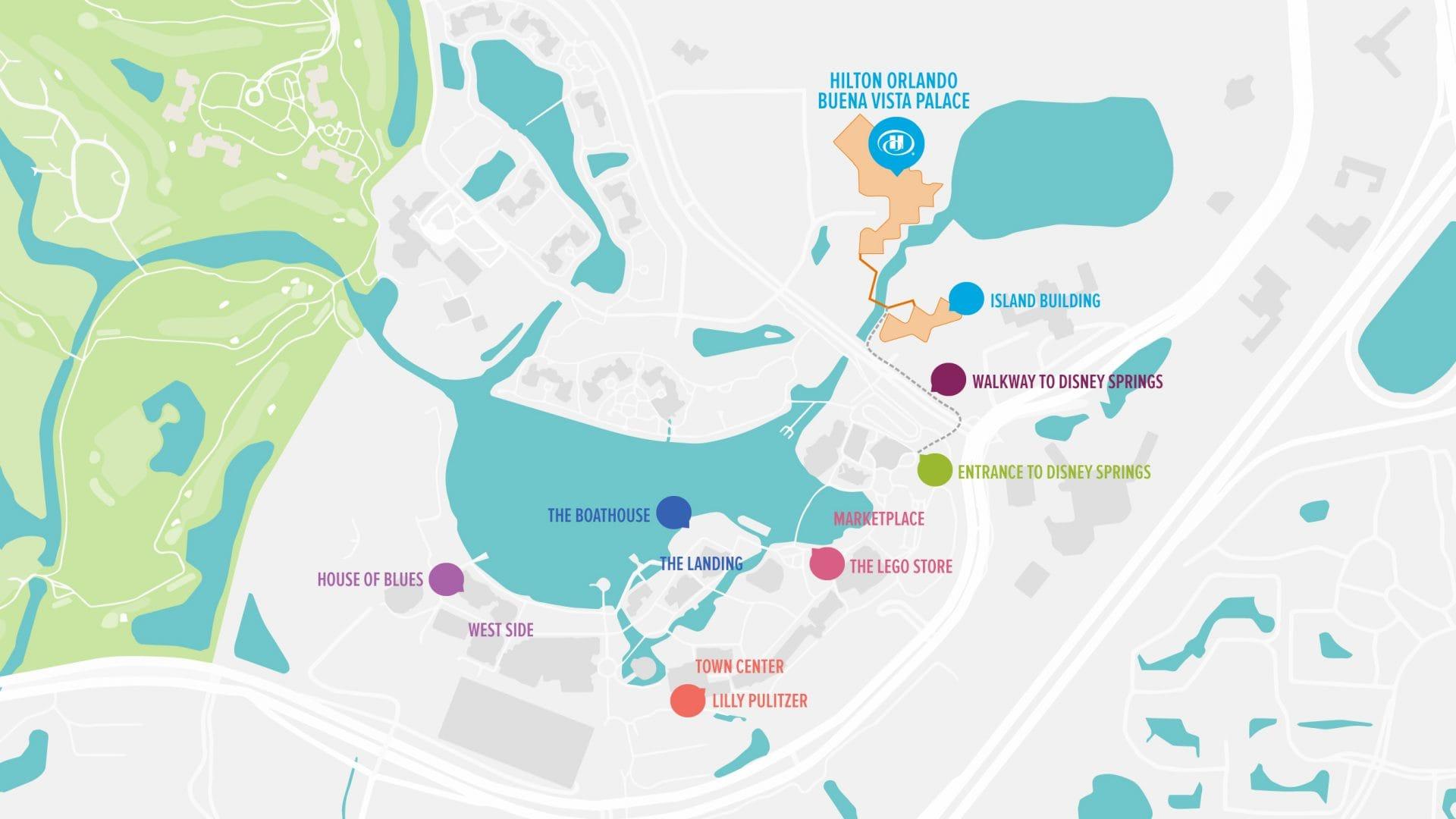 Hilton Orlando Buena Vista Palace - Disney Springs® | Walt Disney - Map Of Lake Buena Vista Florida Hotels