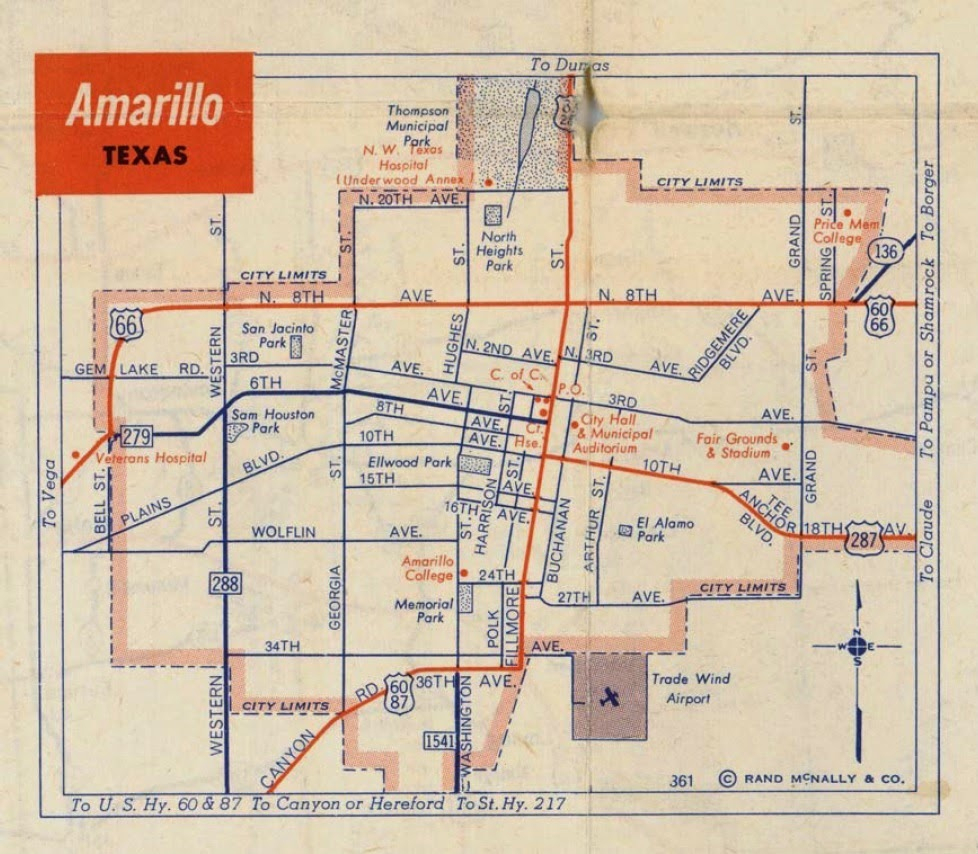 History Of Amarillo, Texas: Map Of Amarillo: C. 1956 - 1960 - Where Is Amarillo On The Texas Map