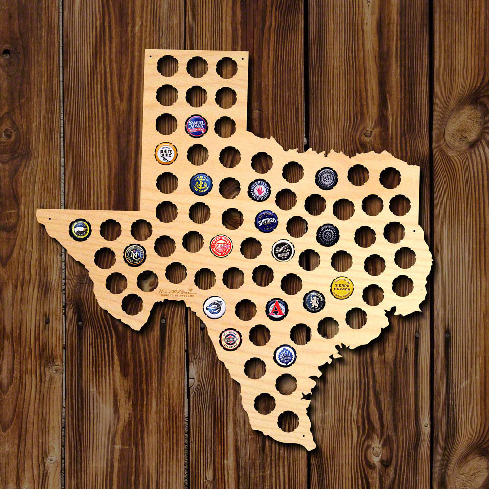 Home Wet Bar Texas Beer Cap Map Wall Décor & Reviews | Wayfair - Texas Beer Cap Map