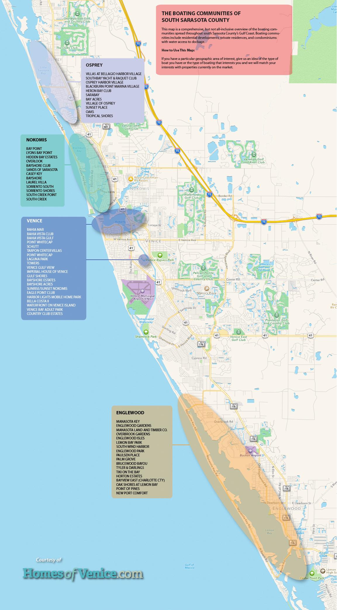 Homesofvenice | Venice Florida Boating - Map Of South Venice Florida