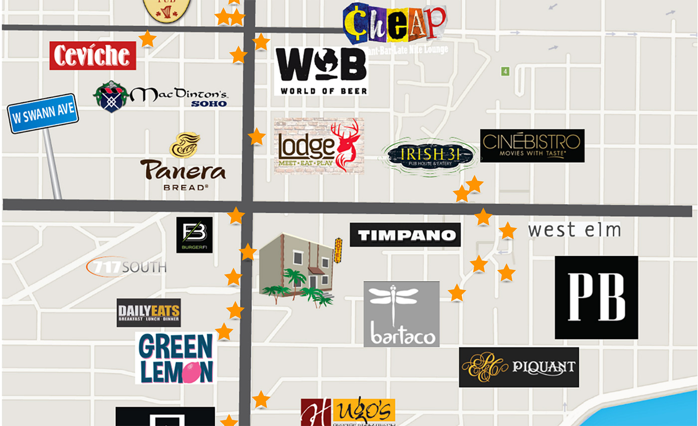 Hotel Located In Downtown Tampa, Fl | Hyde Park Hotel - Map Of Hotels In Tampa Florida