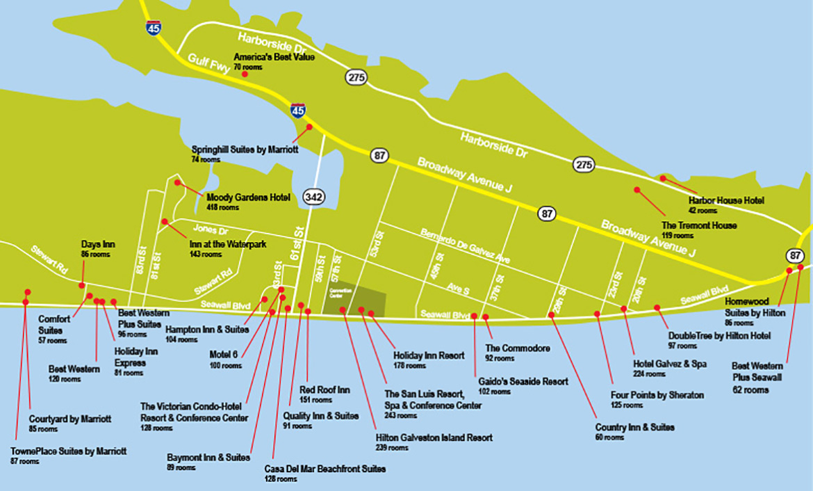 Hotel Map - Map Of Hotels In Galveston Texas