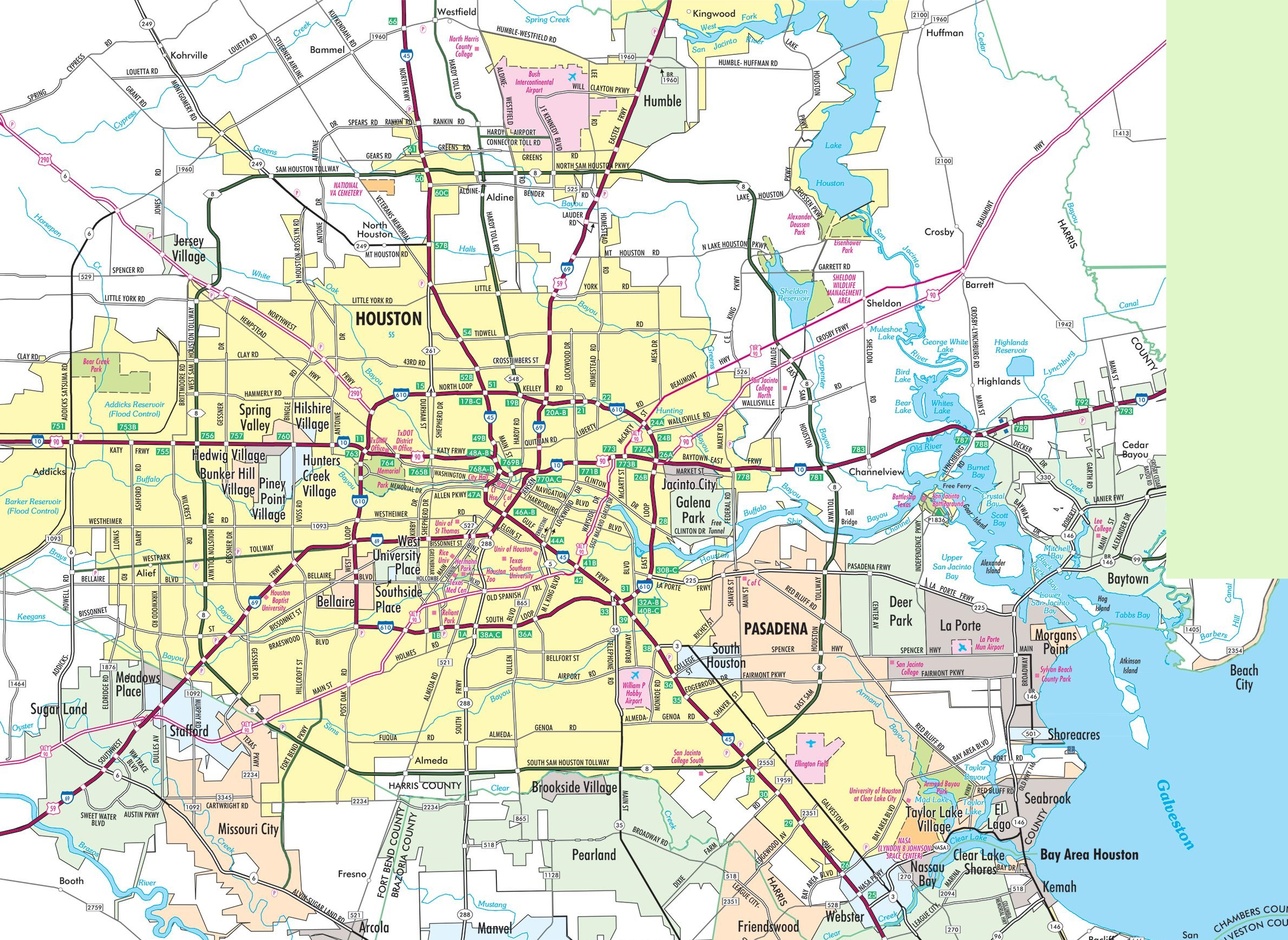 Houston Area Road Map - Map To Houston Texas