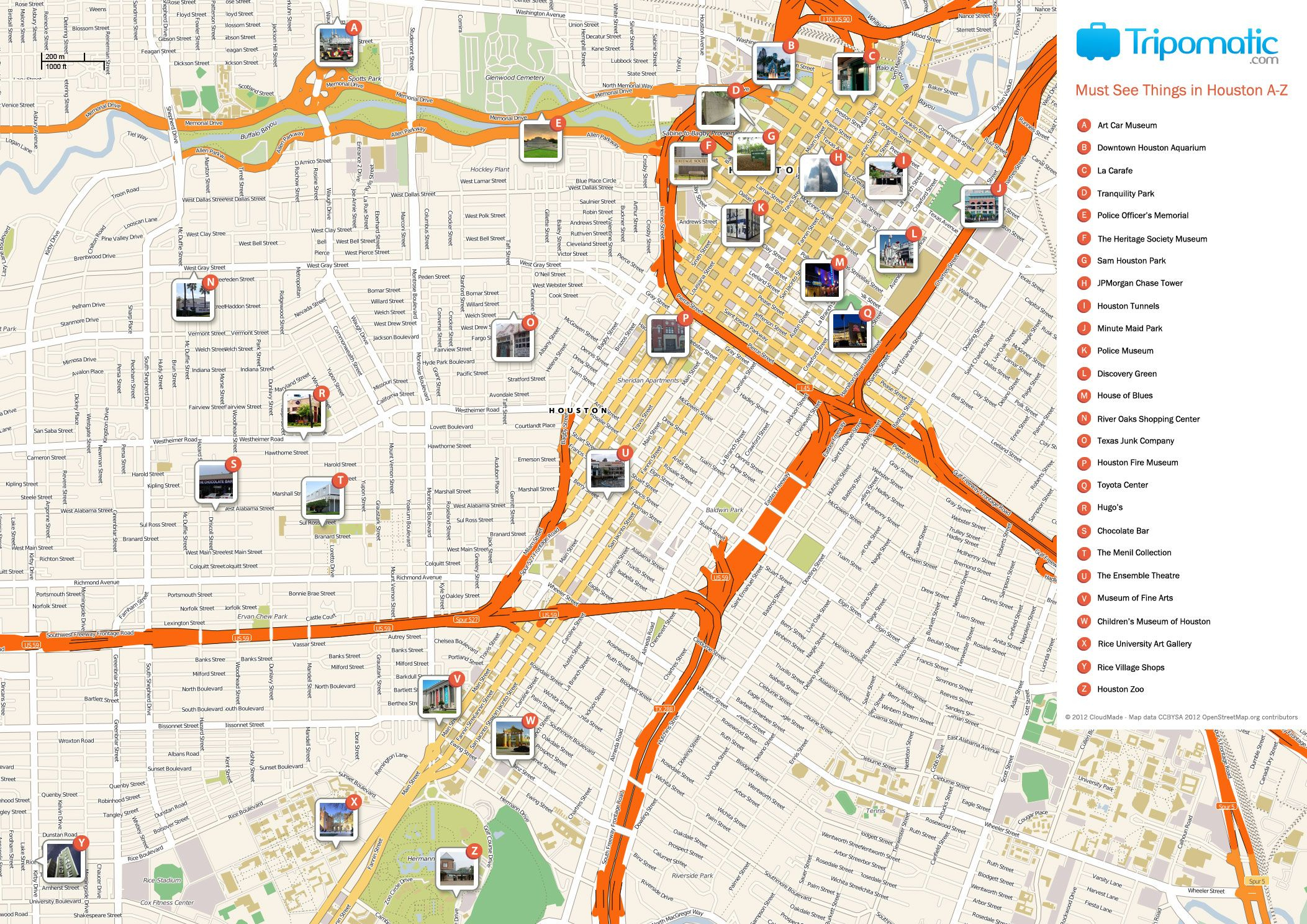Houston Printable Tourist Map | Homeschooling & Unschooling - Texas Sightseeing Map