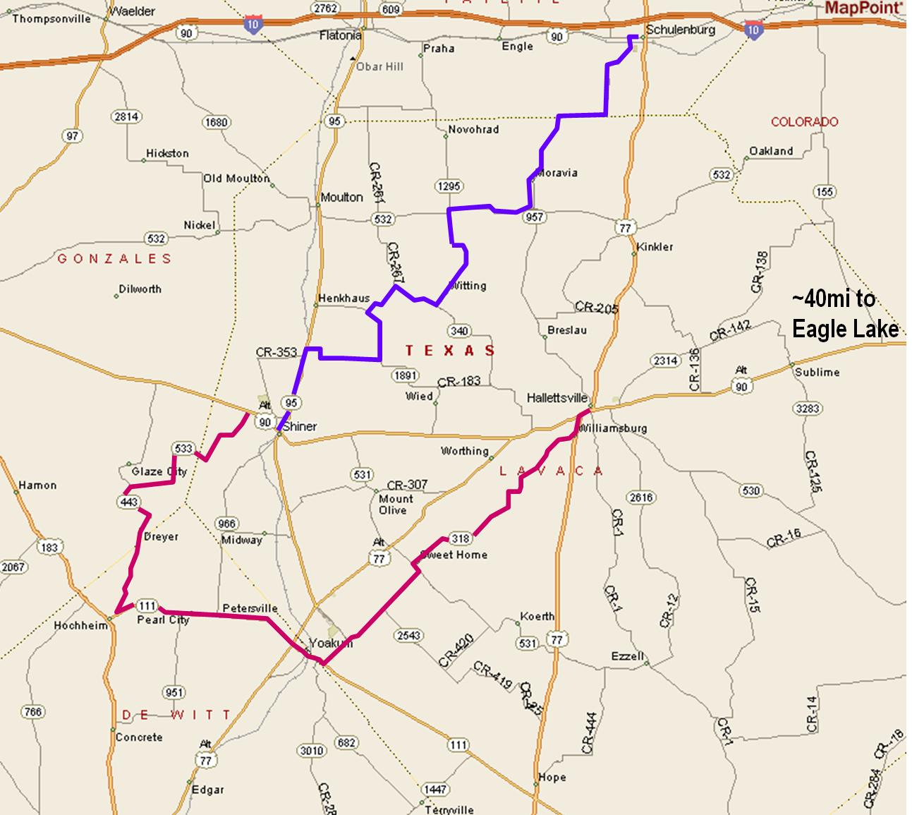 Houston T Riders -- Shiner Ride - Shiner Texas Map