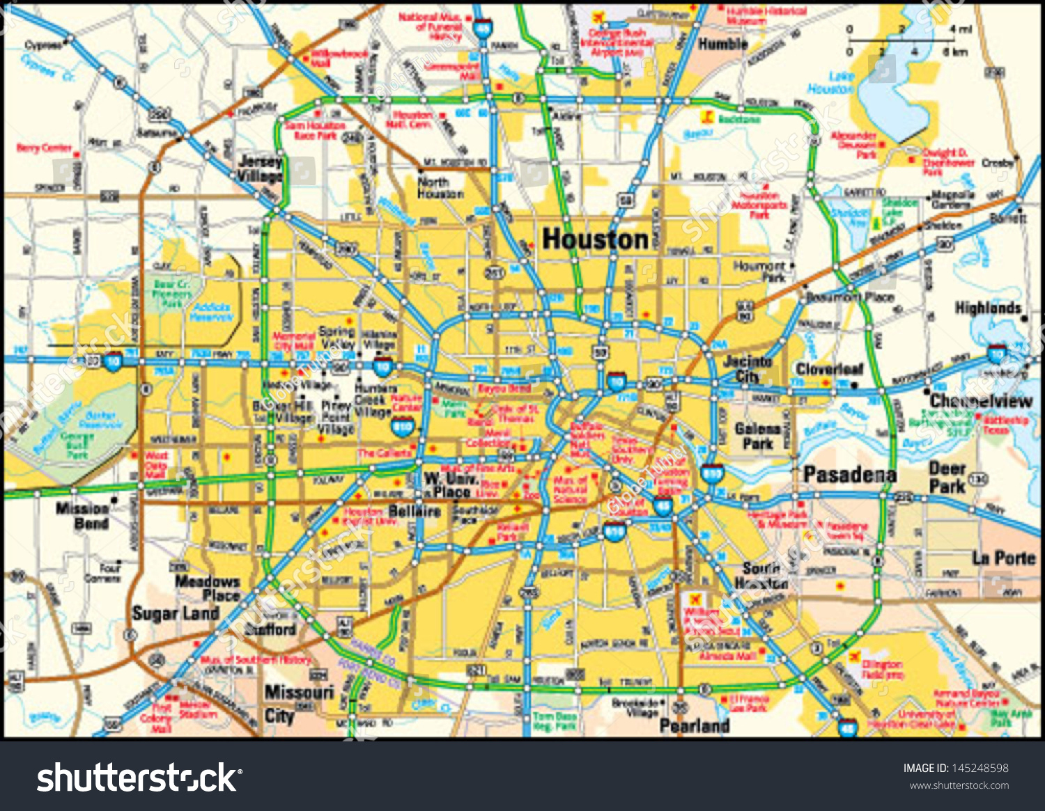 Houston Texas Area Map Stock Vector (Royalty Free) 145248598 - Map To Houston Texas