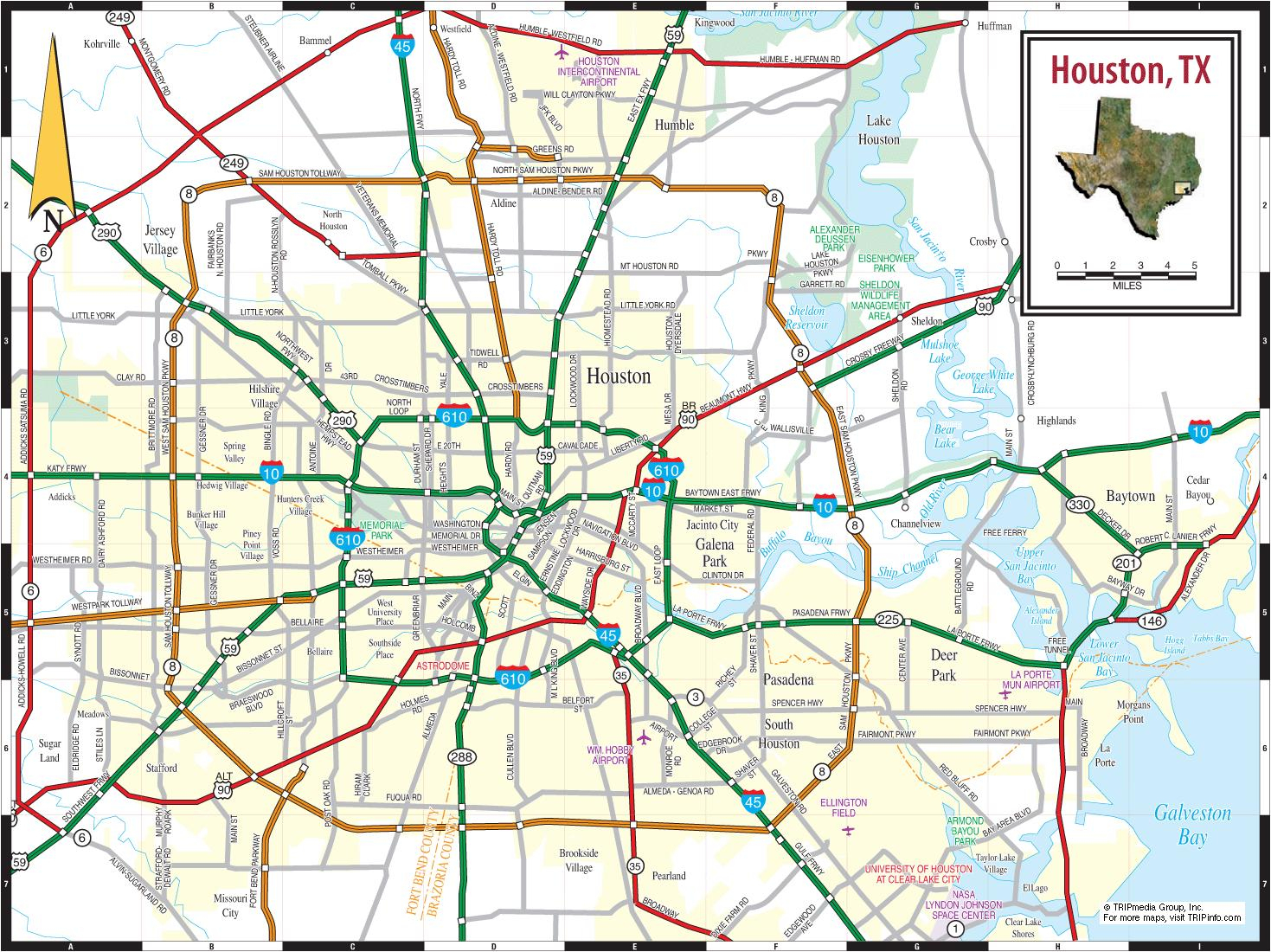 Houston, Texas, Carte - Carte De Houston Au Texas (Texas - Usa) - Map To Houston Texas