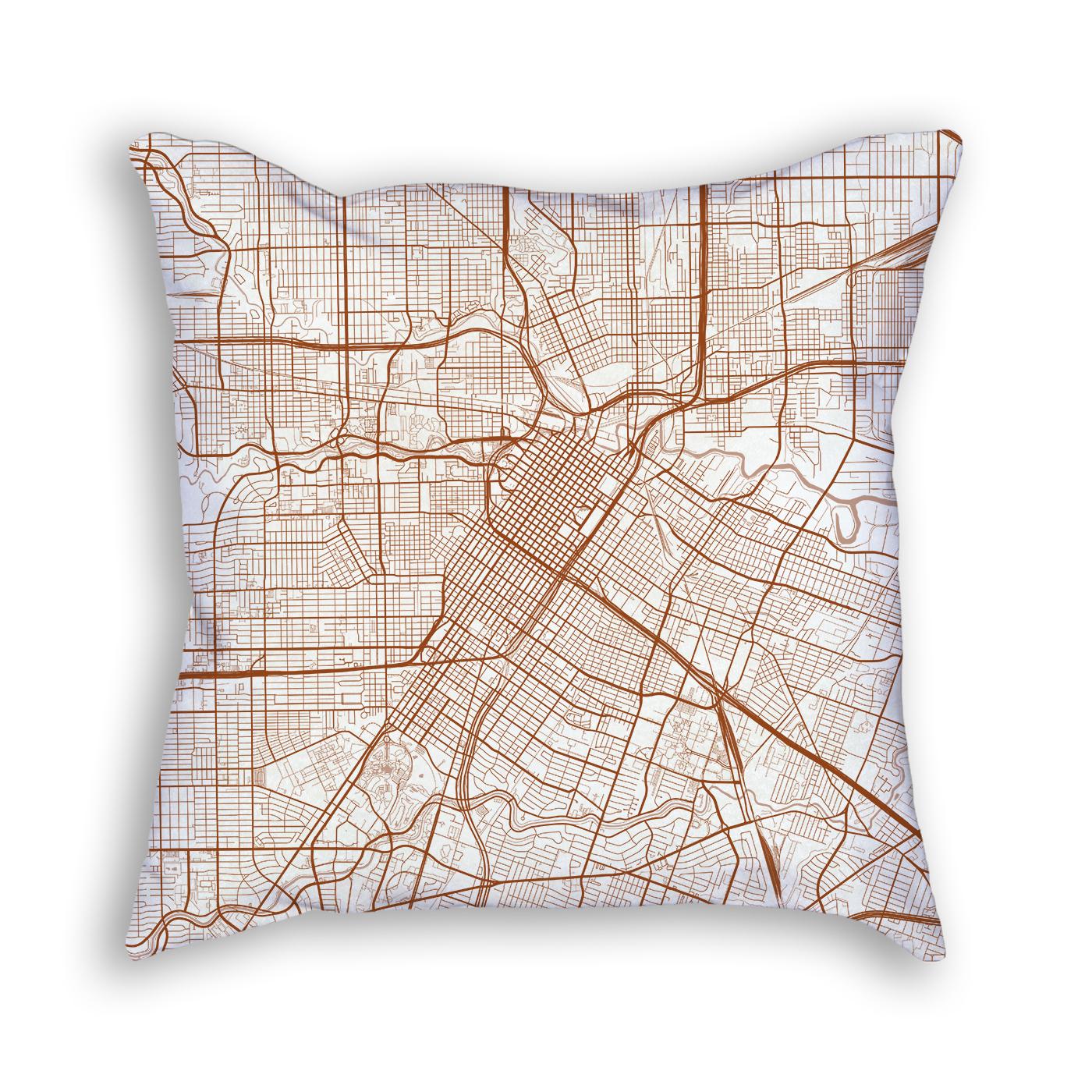 Houston Texas Throw Pillow – City Map Decor - Texas Map Pillow