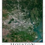 Houston, Tx Area Satellite Map Print | Aerial Image Poster   Satellite Map Of Texas