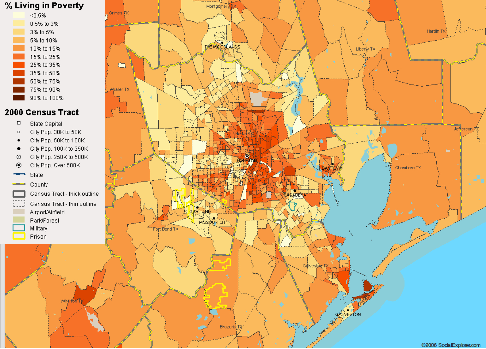 Houston, Tx Poverty Map — Visualizing Economics - Map To Houston Texas