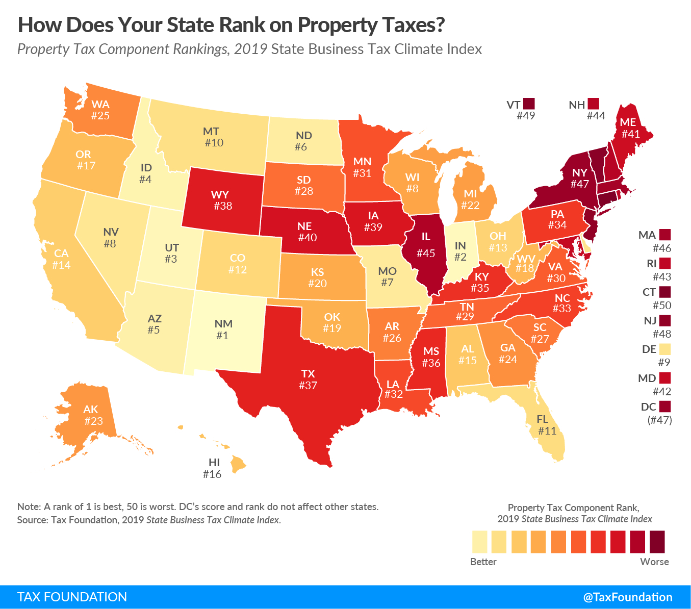 How Does Your State Rank On Property Taxes? | 2019 State Rankings - Texas Property Tax Map