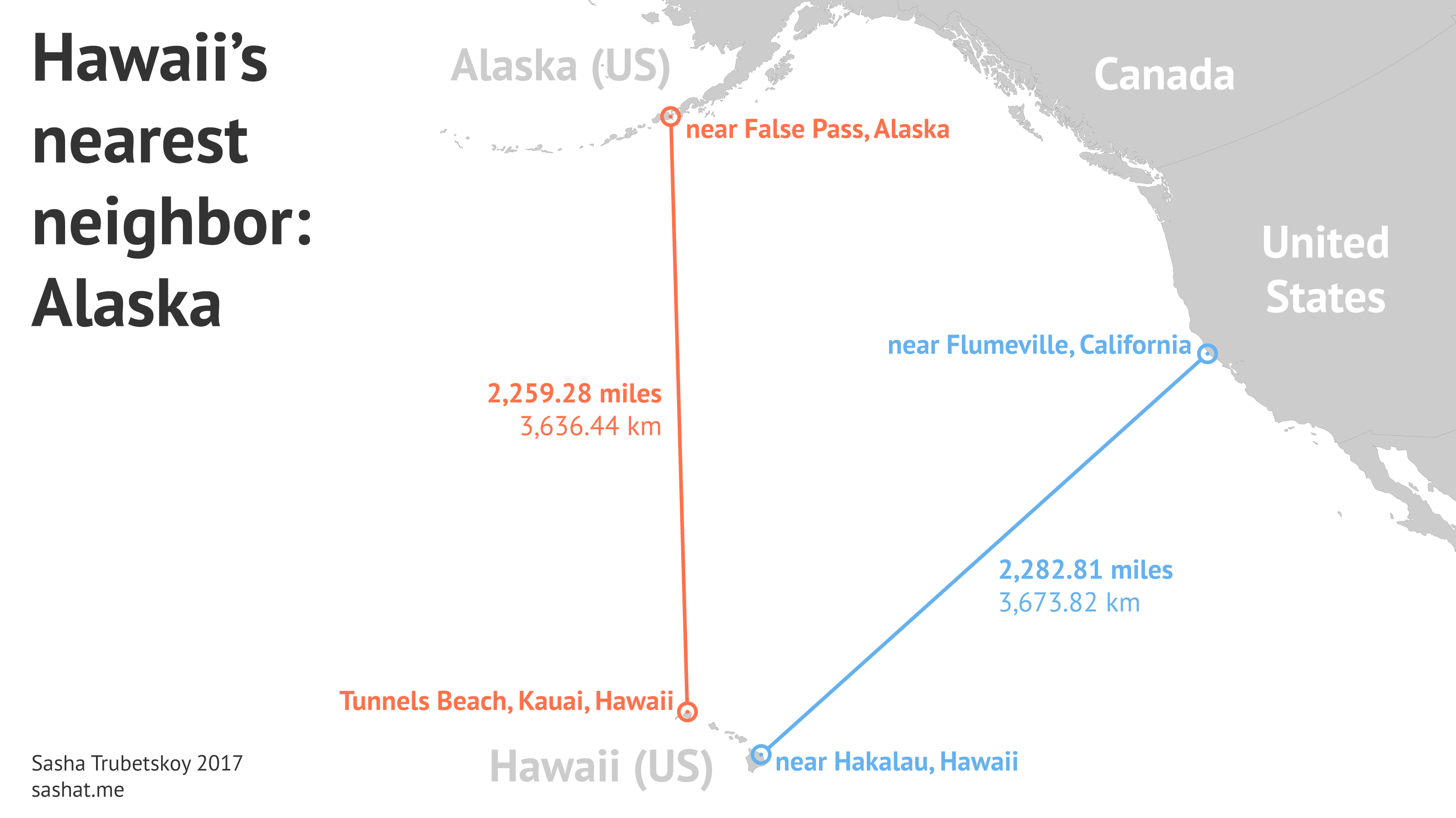 How Far Is Hawaii From The Nearest Landmass? – Sasha Trubetskoy - Map Of Hawaiian Islands And California