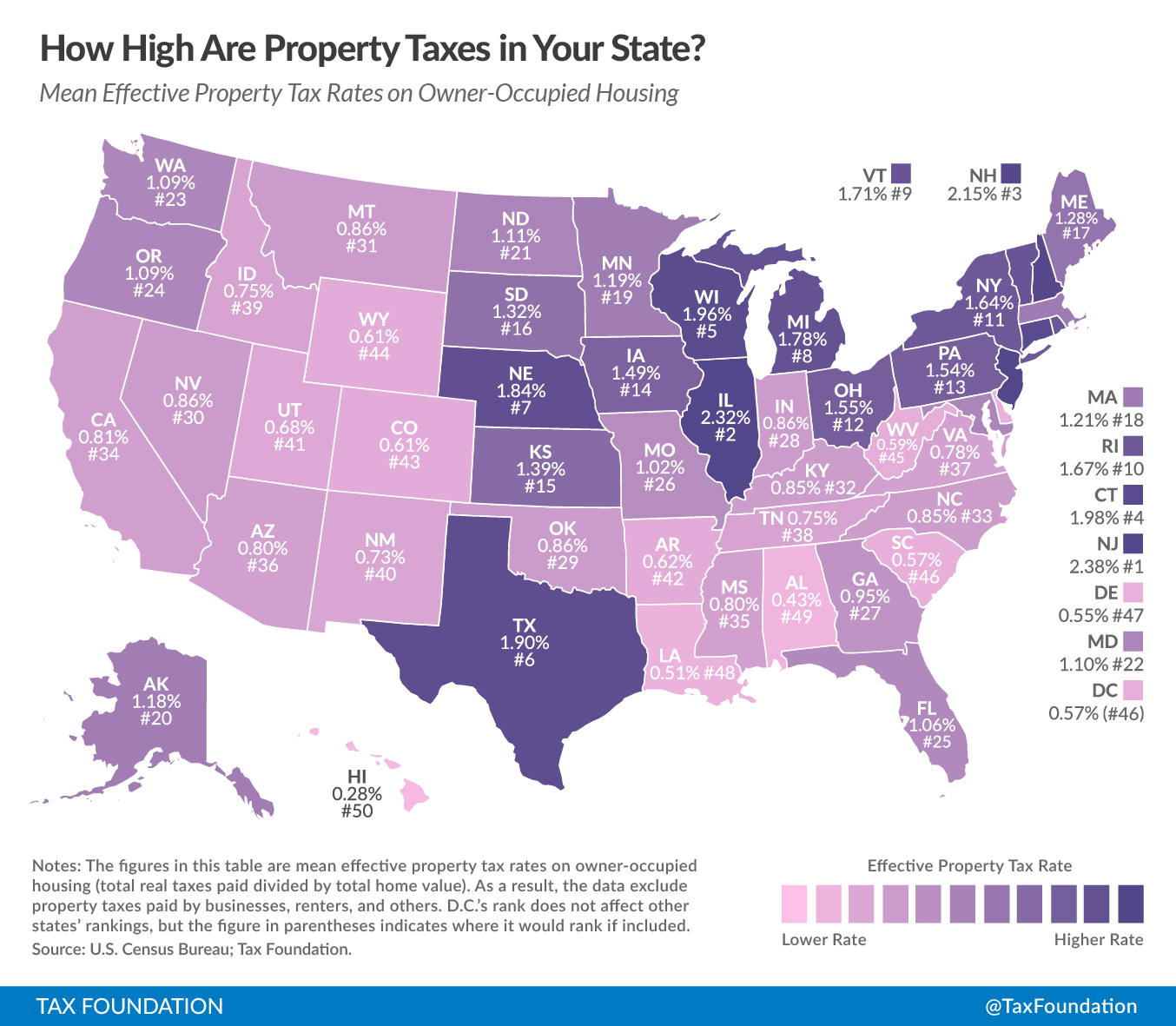 How High Are Property Taxes In Your State? | Tax Foundation - Florida Property Tax Map