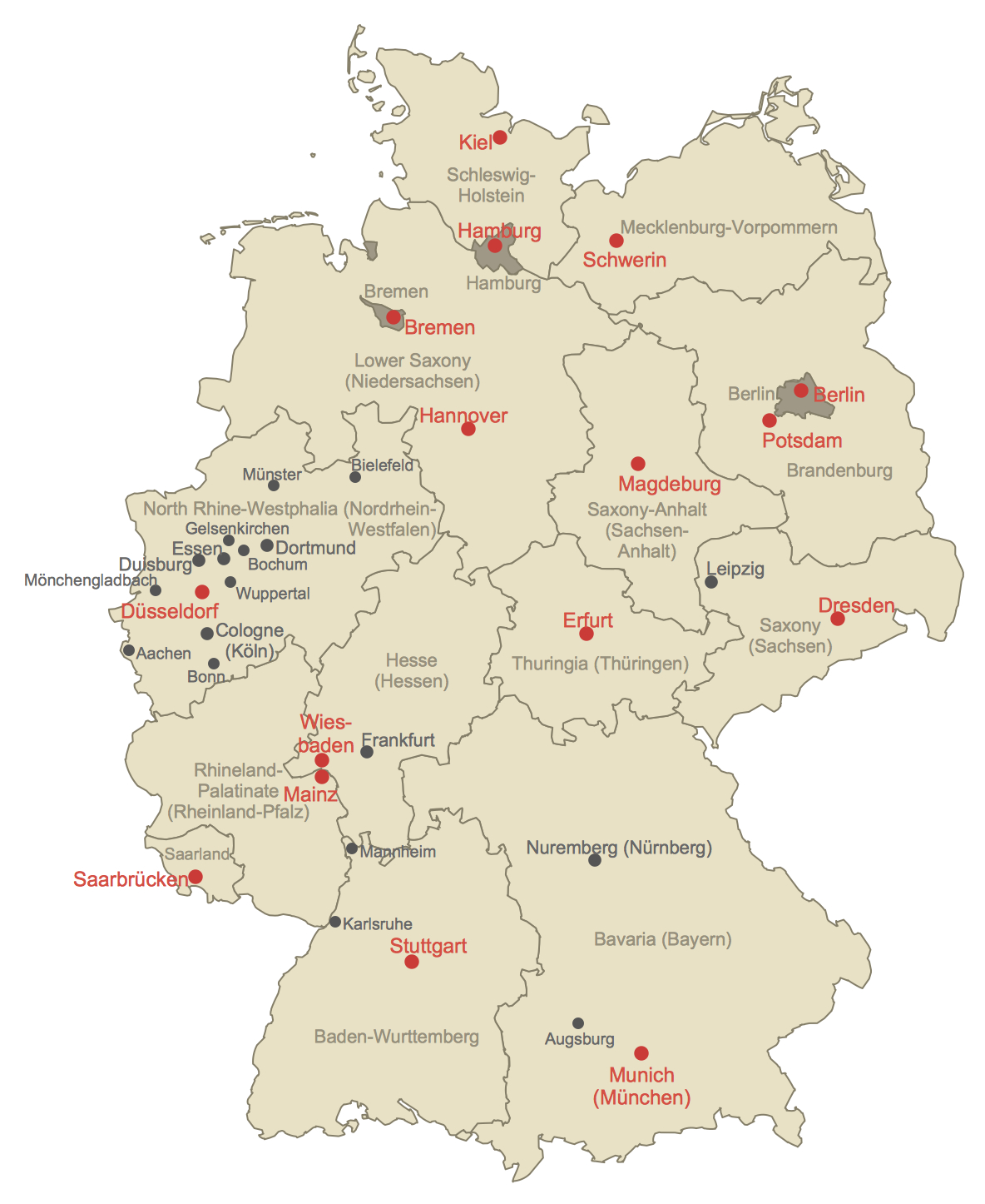 How To Create A Map Of Germany Using Conceptdraw Pro | Germany Map - How To Create A Printable Map