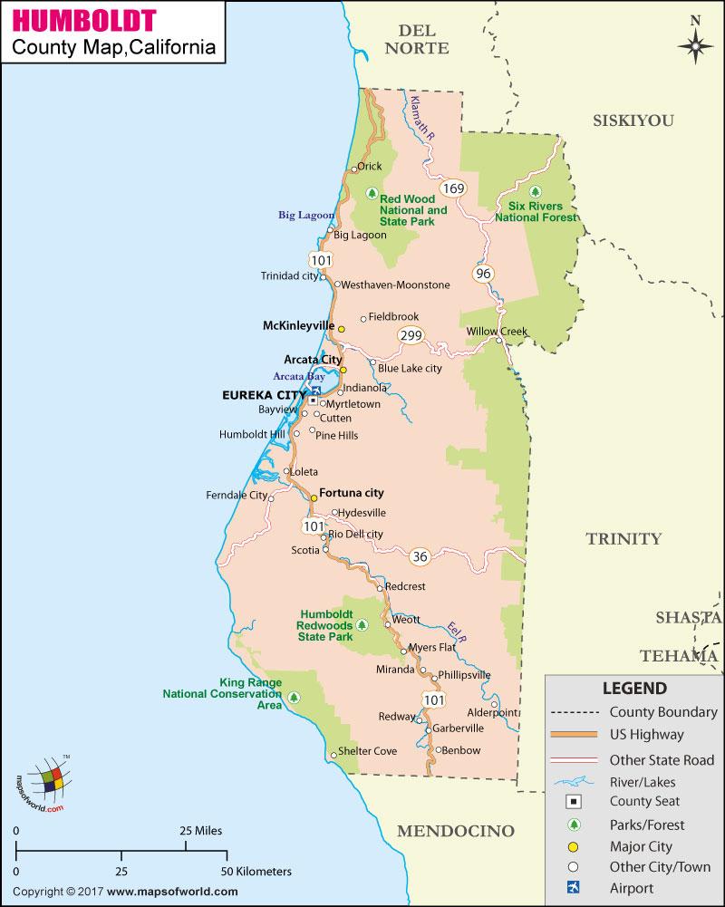 Humboldt County Map, Map Of Humboldt County, California - Trinidad California Map