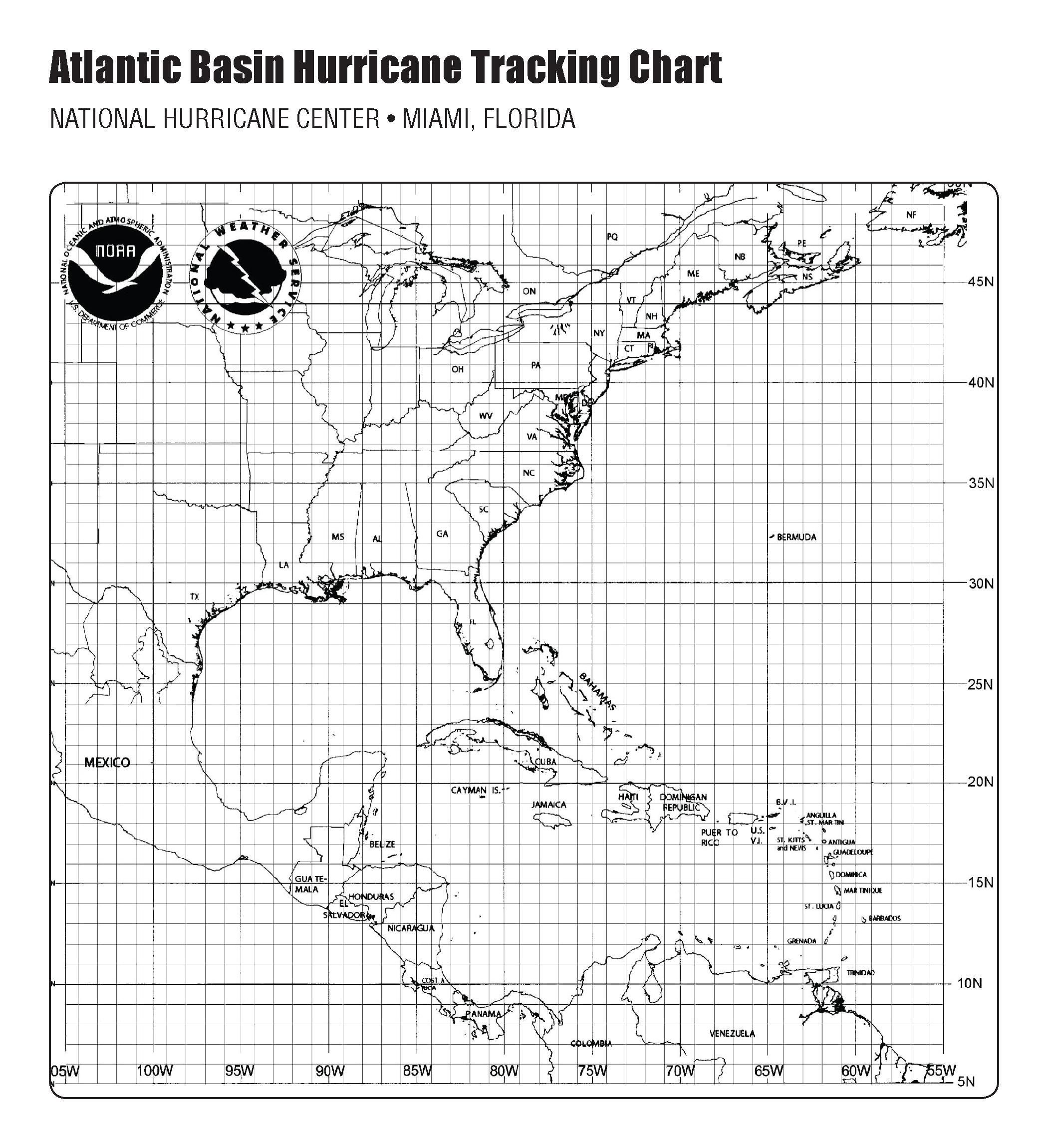Hurricane Tracking Map - Printable Hurricane Tracking Map