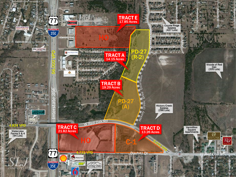 I-35E & W Red Oak Rd, Red Oak, Tx | Slj Company, Llc - Red Oak Texas Map