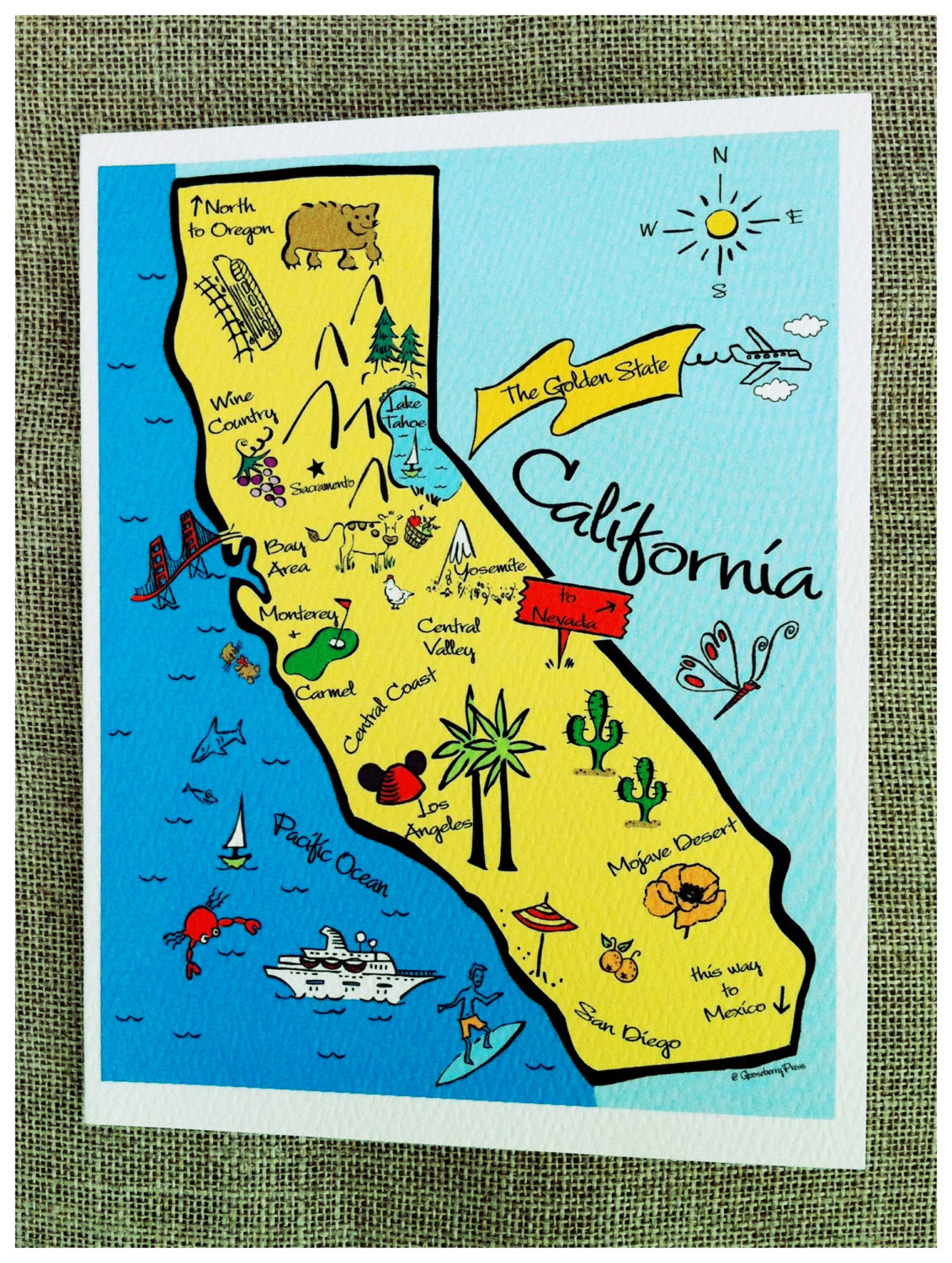 Il Fullxfull K Map Of California Springs Map Of California For Kids - California Map For Kids