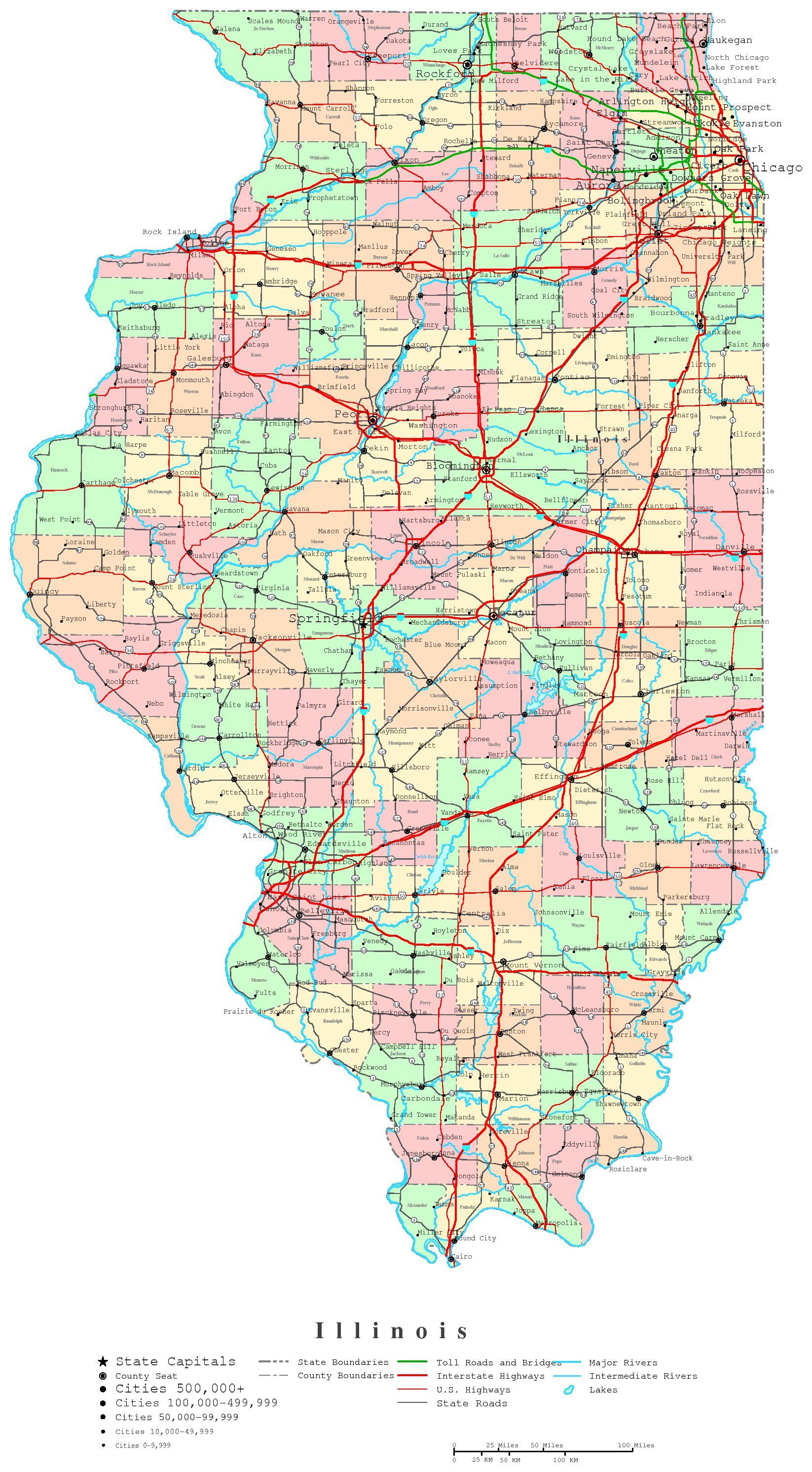 Illinois Printable Map - Printable Map Of Chicago