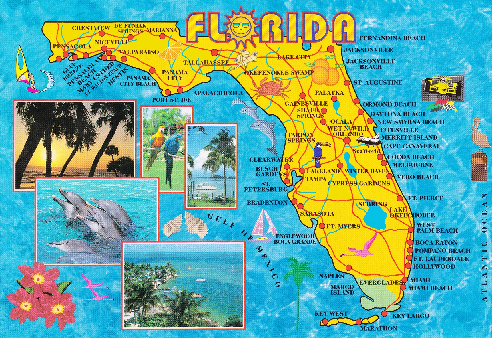Illustrated Tourist Map Of Florida - Florida Tourist Map