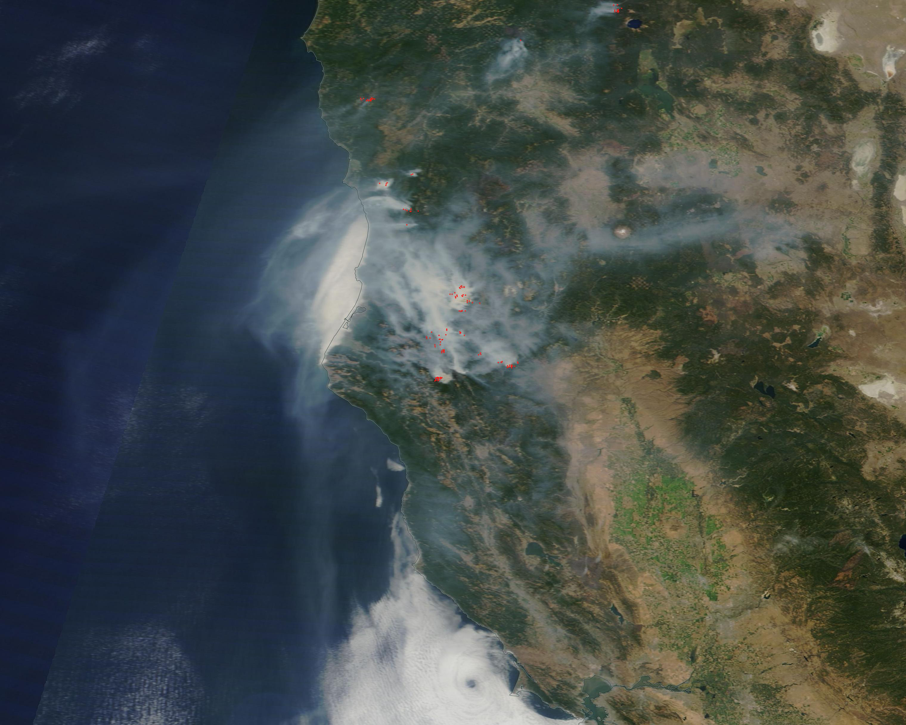 Image: Blanket Of Smoke From Northern California Fires - California Wildfire Satellite Map