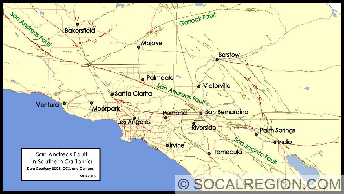 Image Result For Farallon Plate California | First Board - Map Of The San Andreas Fault In Southern California