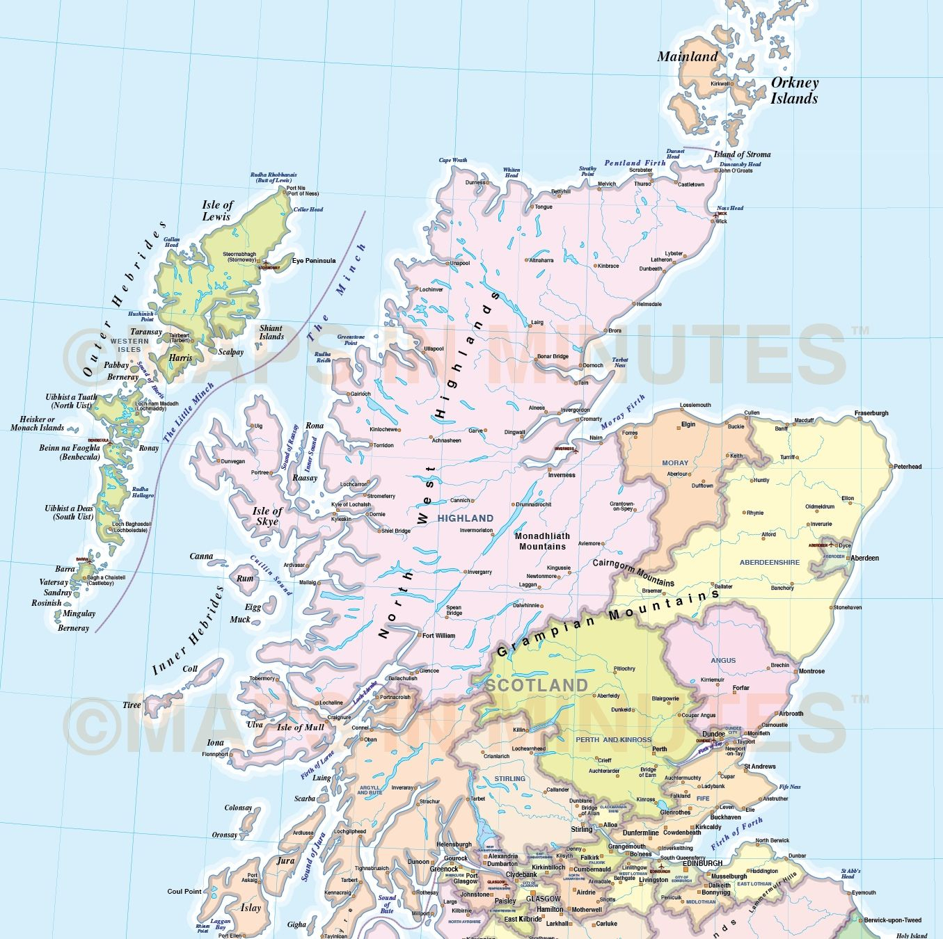 Image Result For Printable Map Of Angus Scotland | Things For - Printable Map Of Scotland
