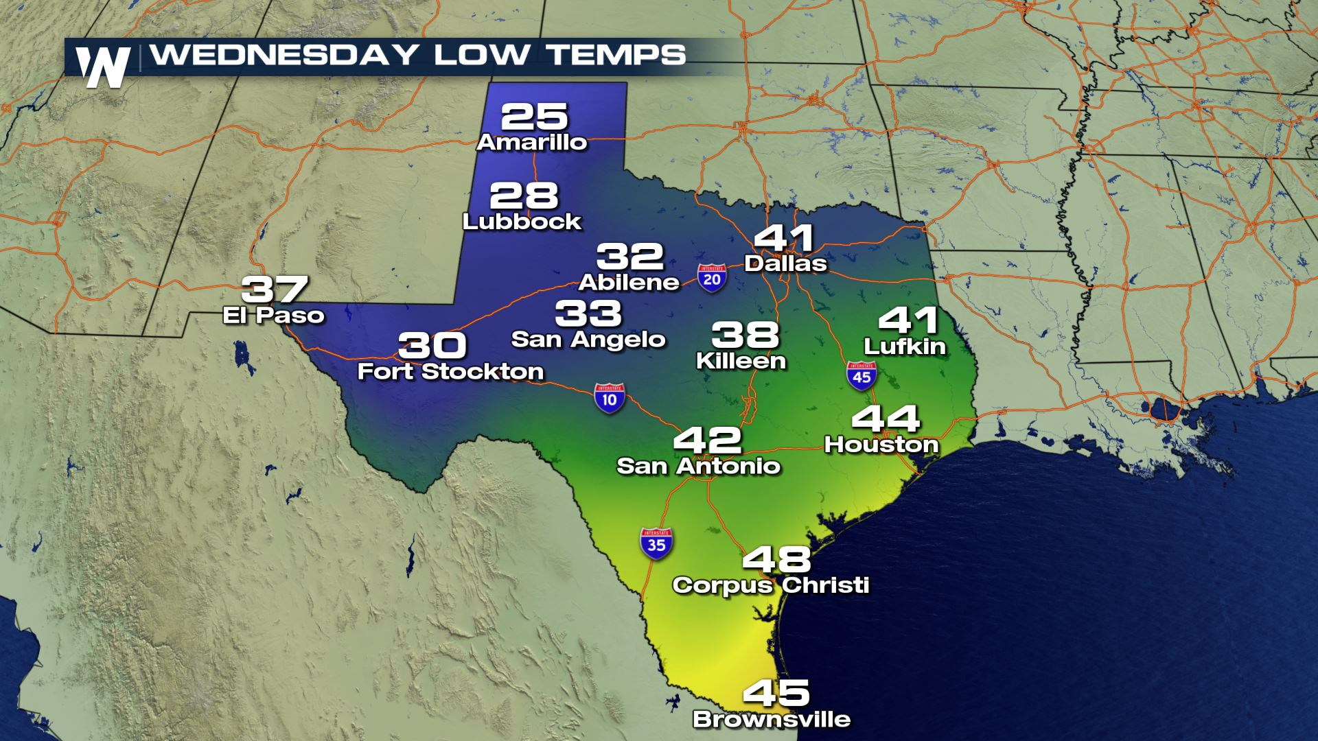 Increasing Snow Chances Forwest Texas? - Weathernation - Texas Weather Map