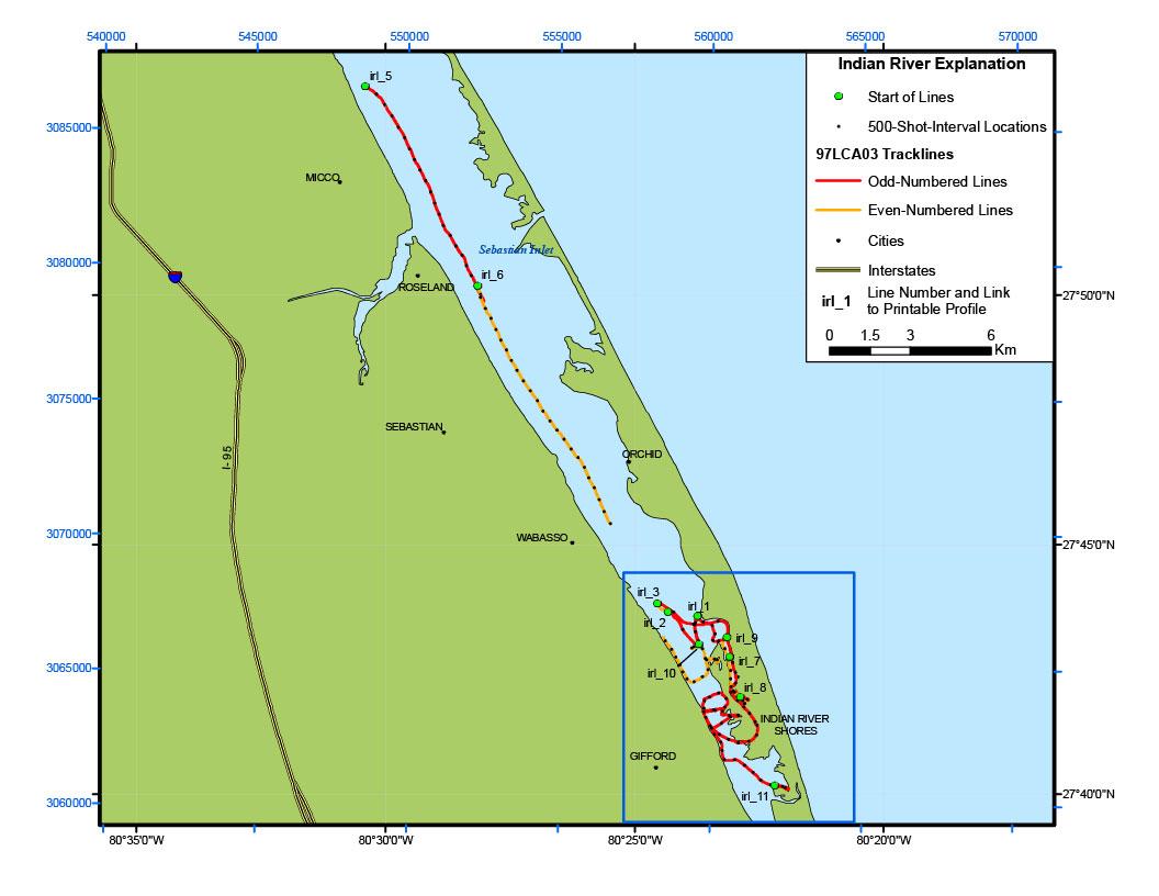 Indian River Lagoon Map - Archive Of Digital Boomer Sub-Bottom Data - Sebastian Florida Map