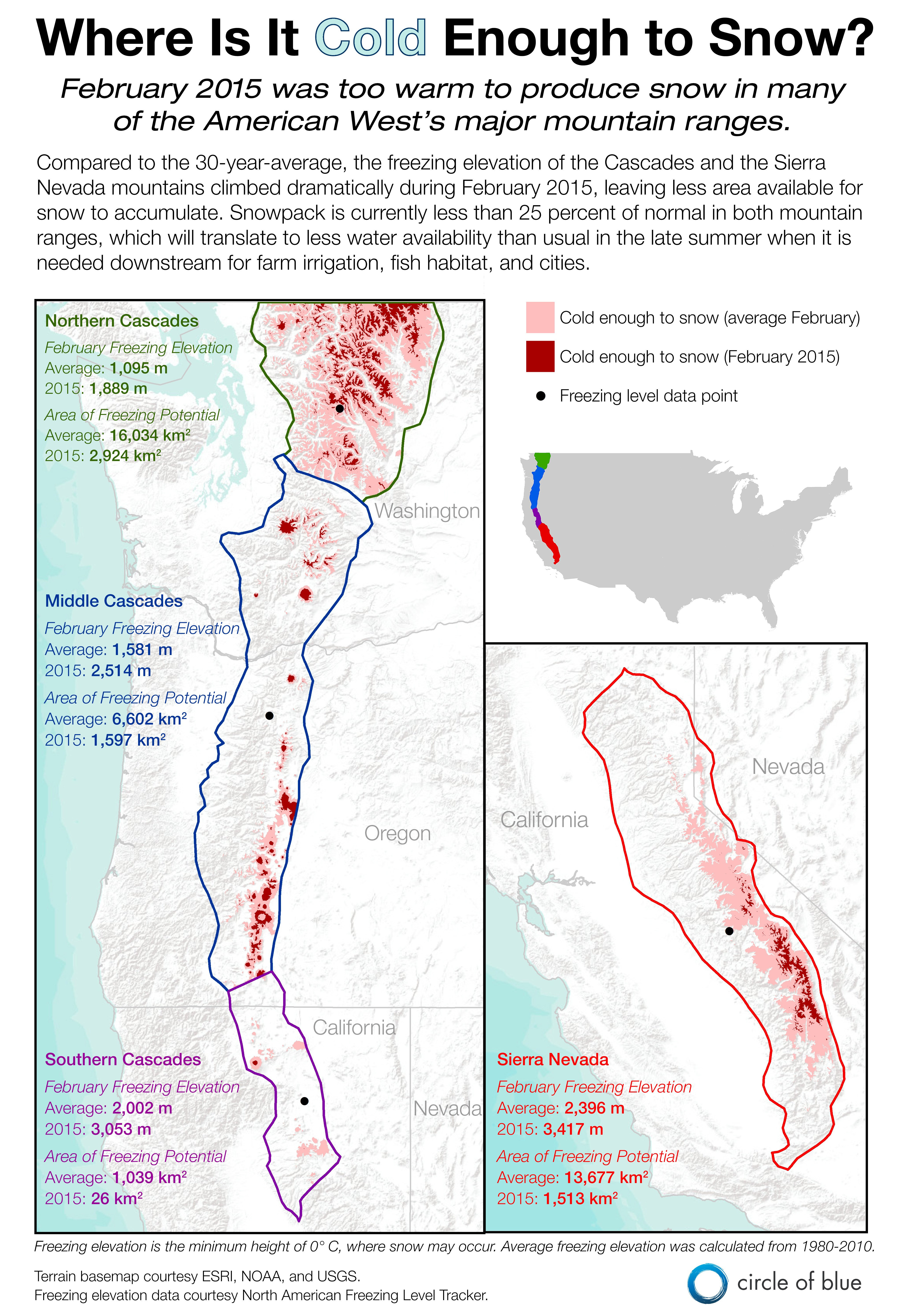Infographic: Too Warm To Snow In California, Oregon, And Washington - California Snow Map