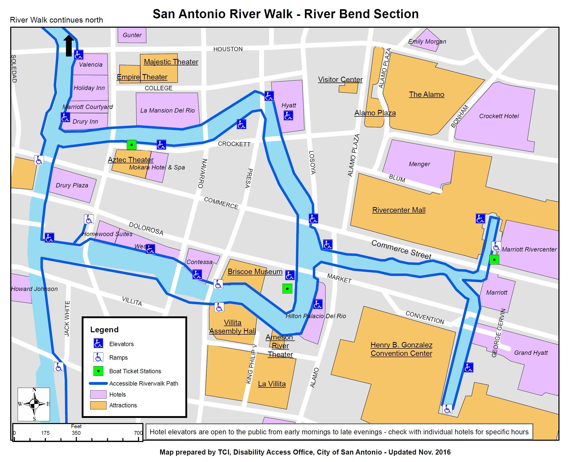 Information On Disability Access On The San Antonio Riverwalk - Map Of Hotels Near Riverwalk In San Antonio Texas