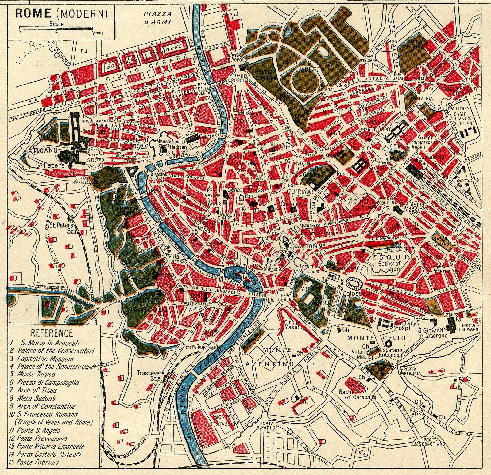Instant Art Printable Download - Map Of Rome - The Graphics Fairy - Vintage Map Printable