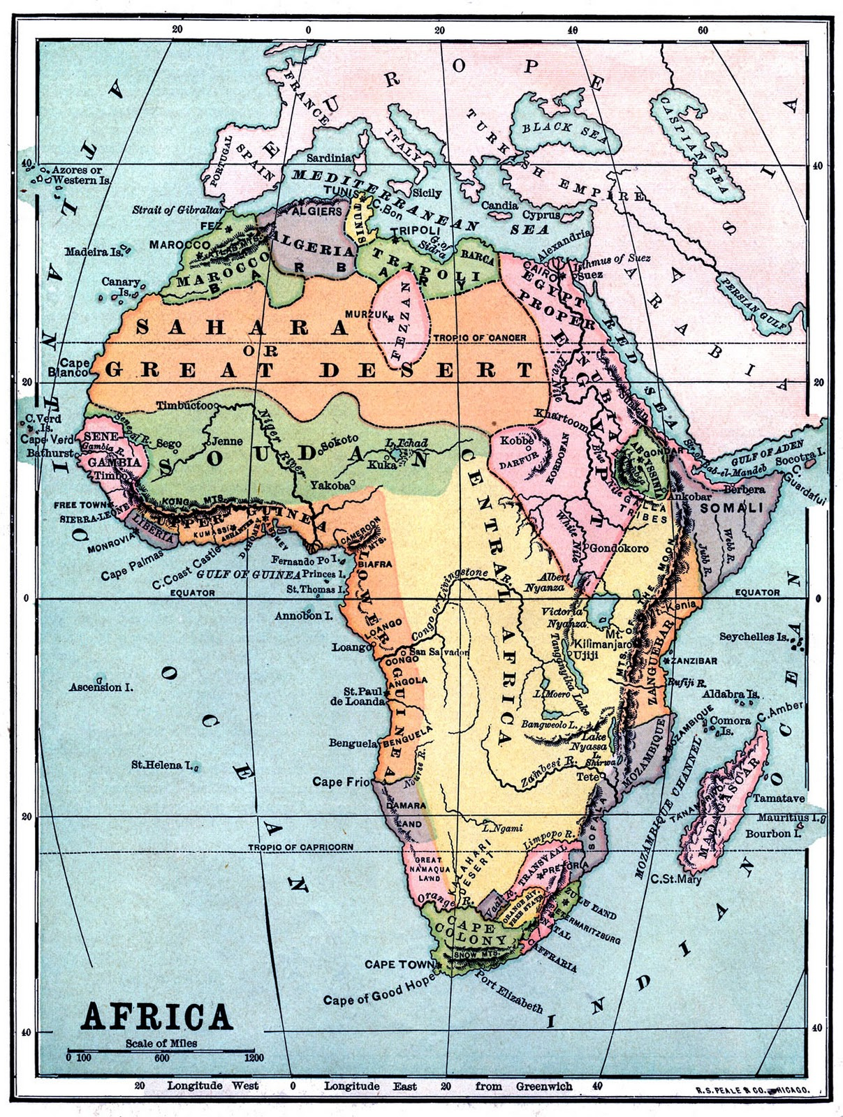 Instant Art Printable - Vintage Map Of Africa - The Graphics Fairy - Printable Antique Maps