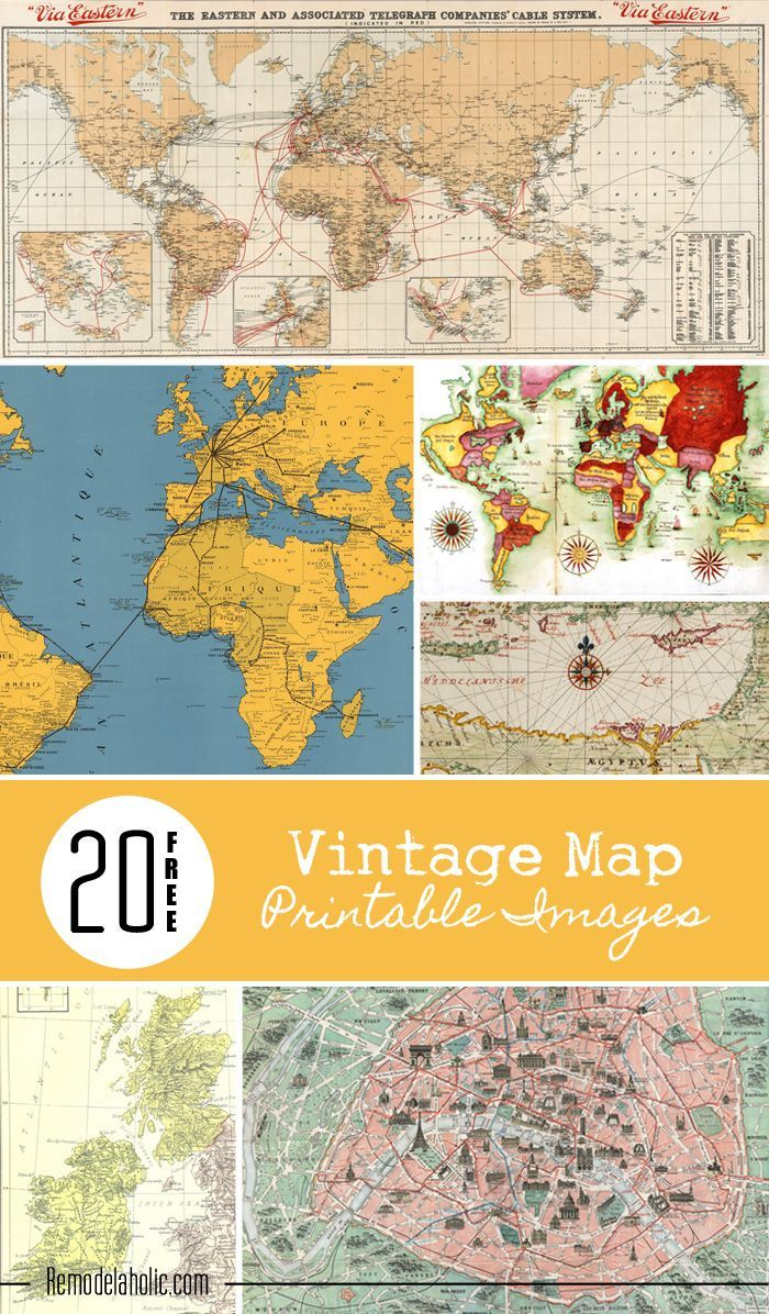 Instant Download - Digital Collage - Vintage Maps - 40 Piece - Vintage Map Printable