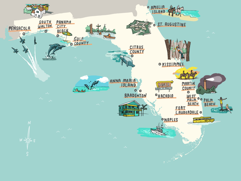 Interactive Florida Map - Laura Barnard / Map Illustrator - Interactive Florida County Map