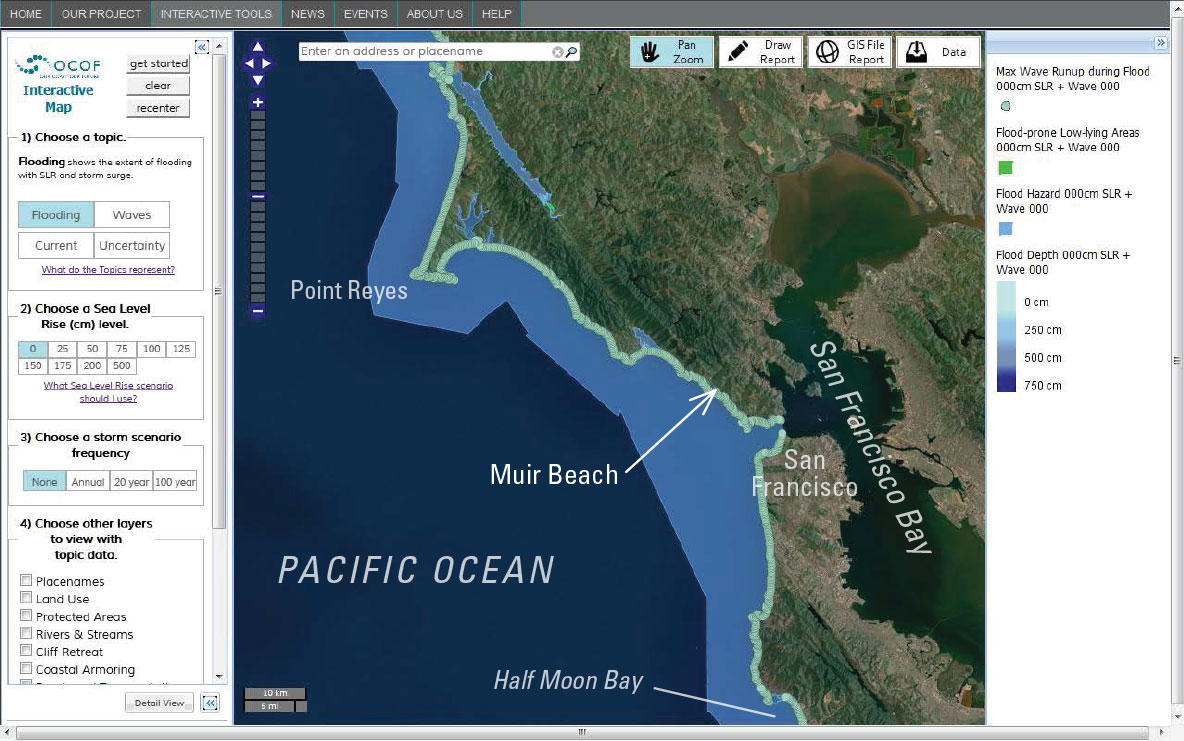 Interactive Tool For Assessing Climate-Change Impacts Along The - California Sea Level Map
