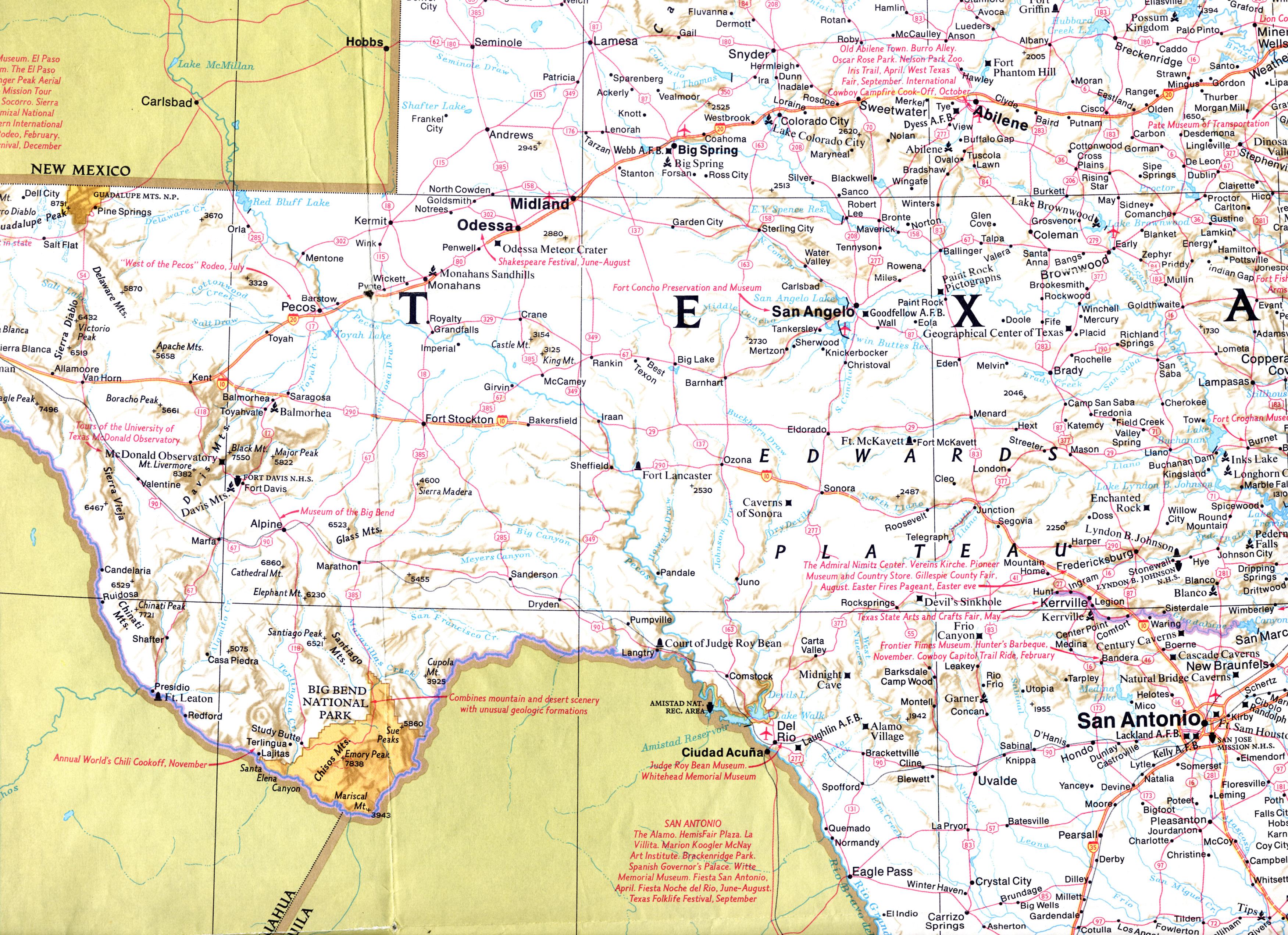 Interstate 10 West Texas Photos Pecos Crockett Counties - Pecos Texas Map