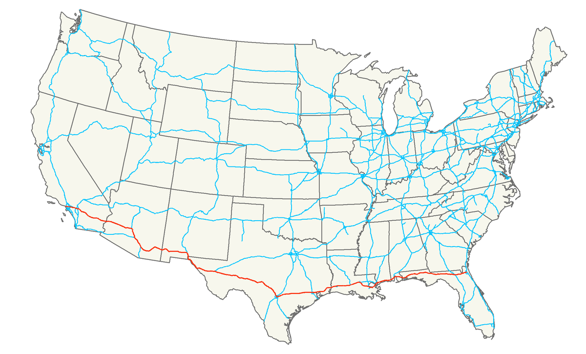 Interstate 10 - Wikipedia - Map Of I 95 From Florida To New York