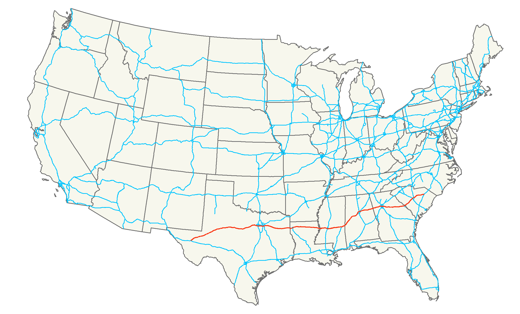 Interstate 20 - Wikipedia - Texas Mile Marker Map I 20