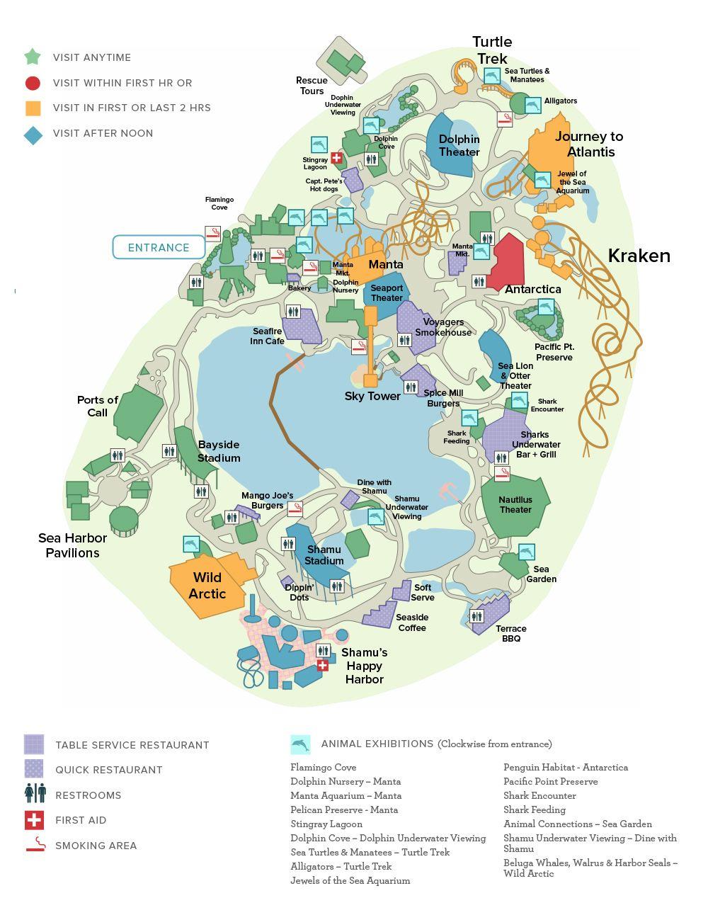 Introducing Our Universal & Seaworld Orlando Touring Plans - Printable Sea World Map