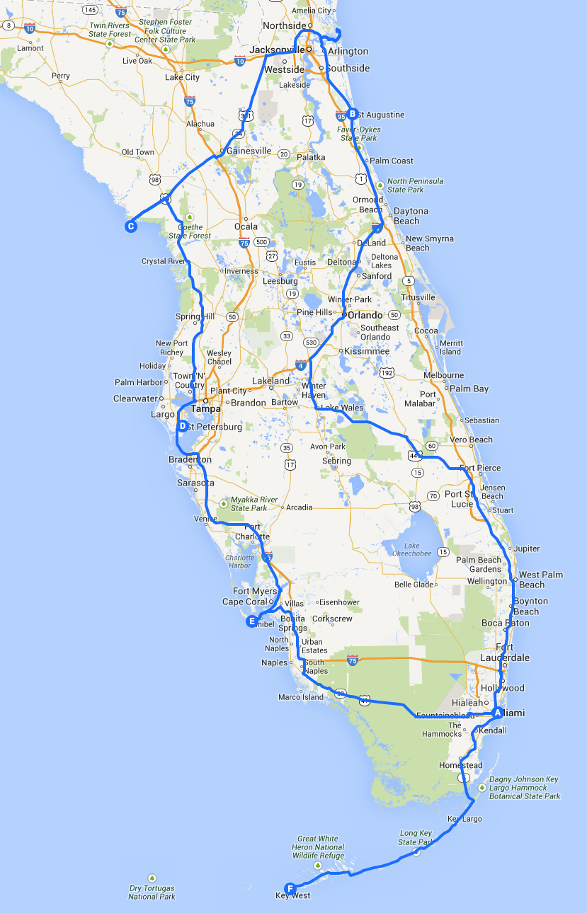 Introduction: A Three Week Road Trip Around Florida - Grown-Up - Florida Travel Guide Map