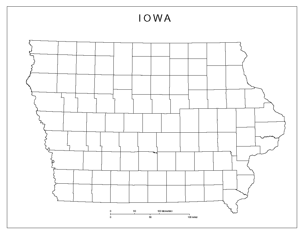 Iowa Blank Map - Printable Map Of Iowa