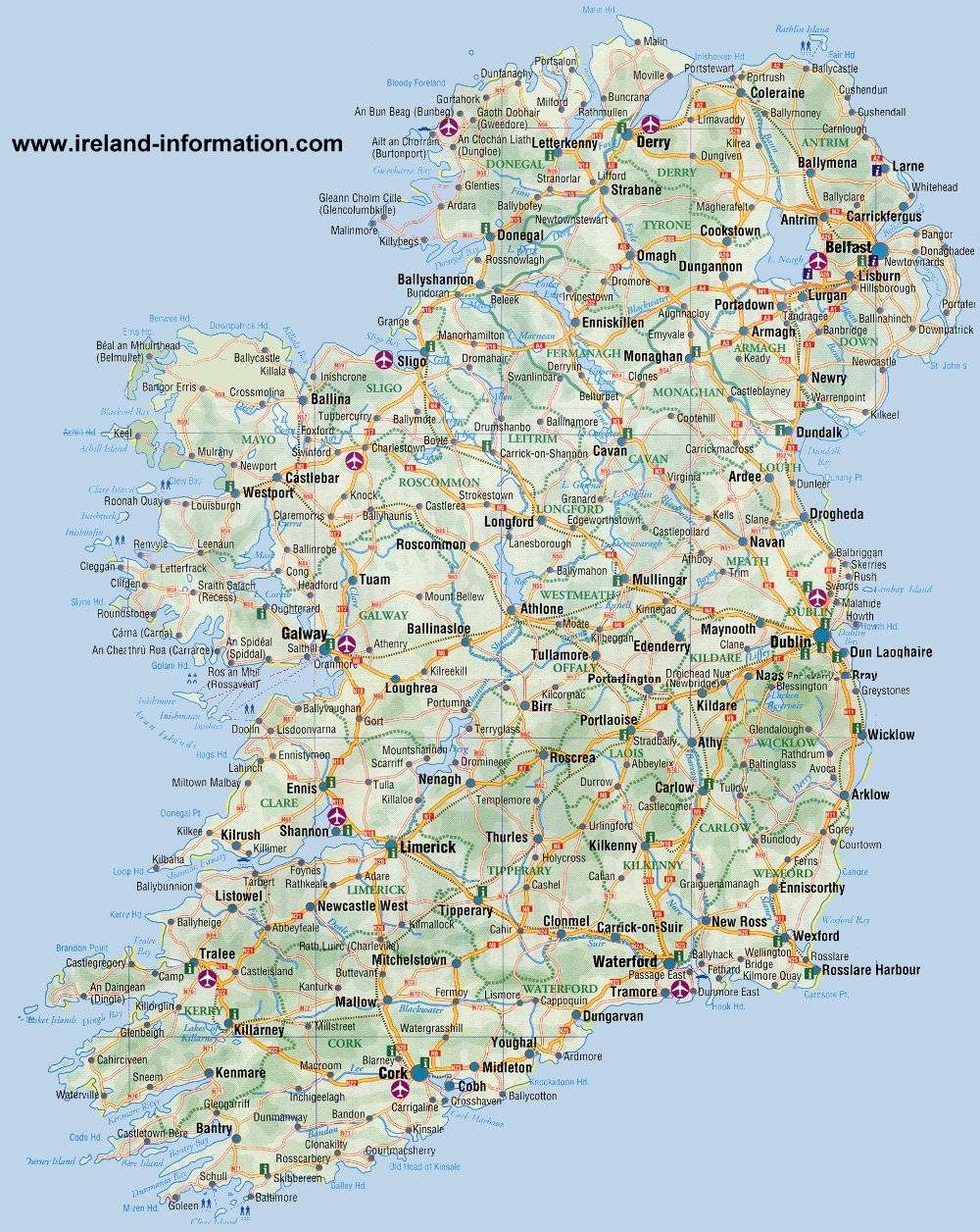 Ireland Maps Free, And Dublin, Cork, Galway - Large Printable Map Of Ireland