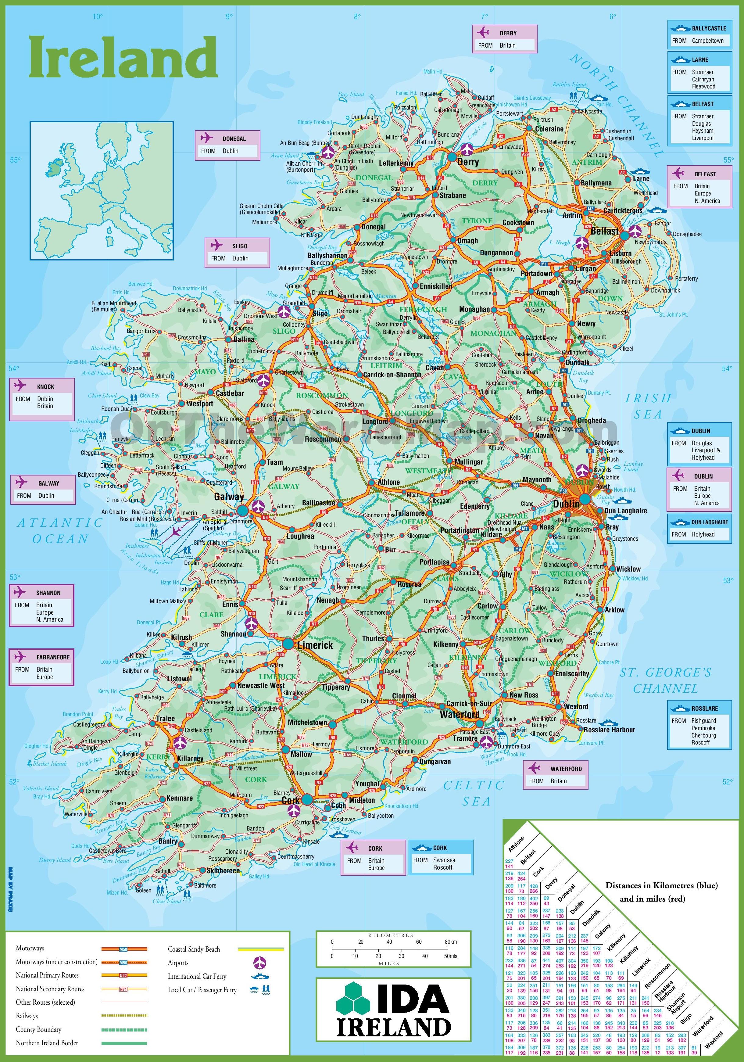 Ireland Road Map - Free Printable Driving Maps