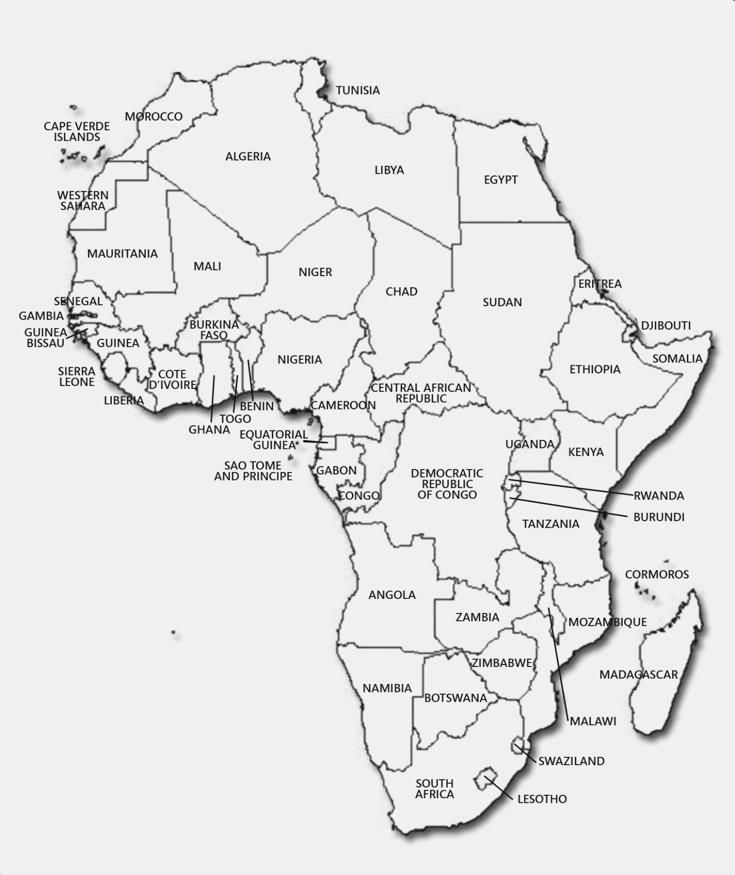 Is Printable Map Of Africa With Countries   Label Maker Ideas - Printable Map Of Africa With Countries Labeled