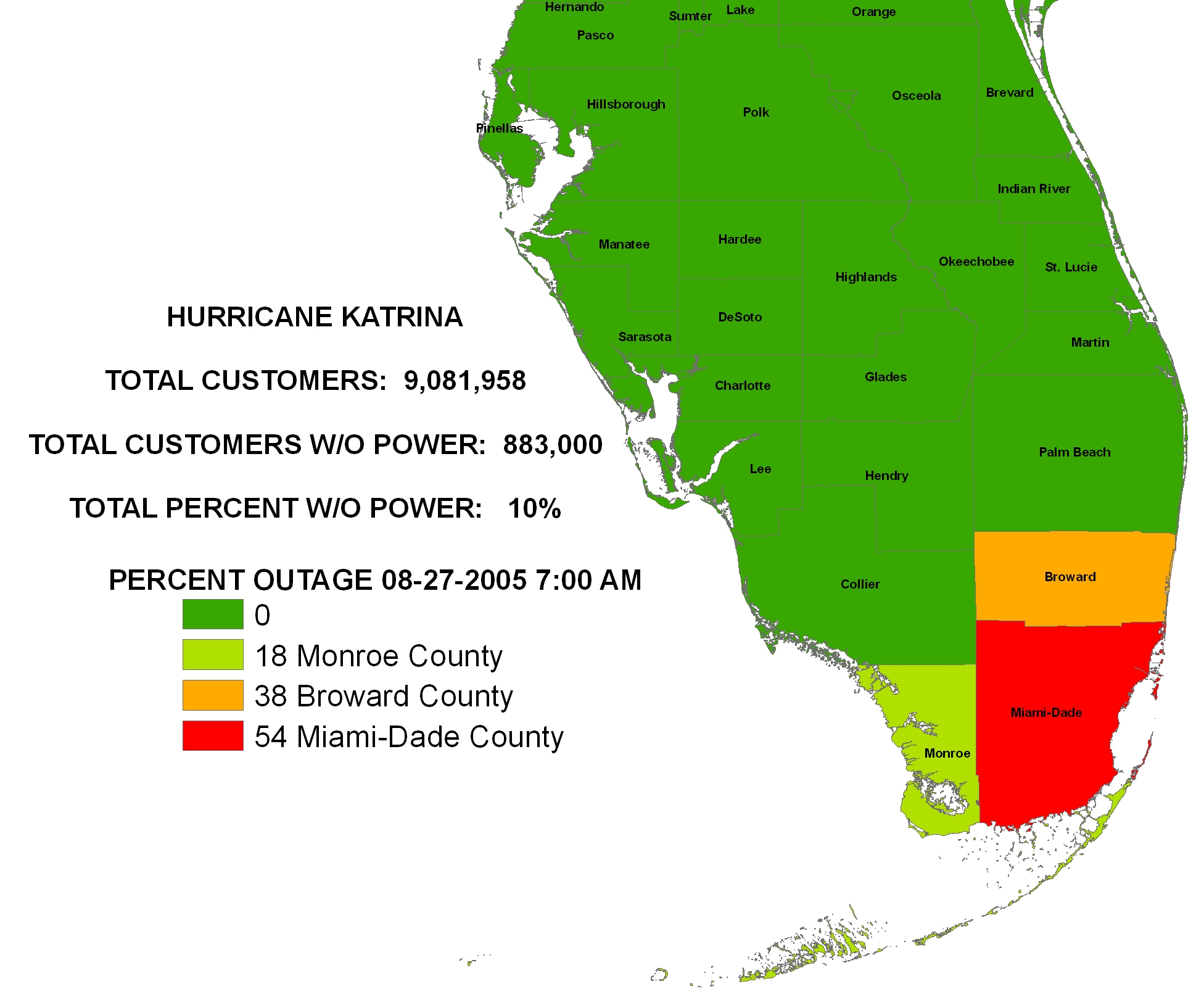 Iser - Hurricane Katrina - Power Outages In Florida Map