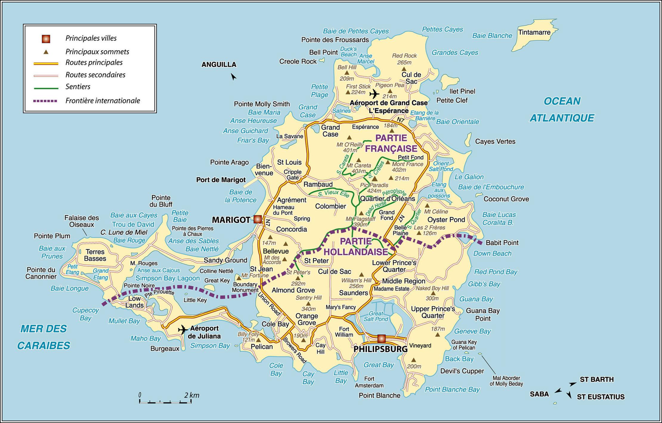 Island Map - Ecosia - Printable Road Map Of St Maarten