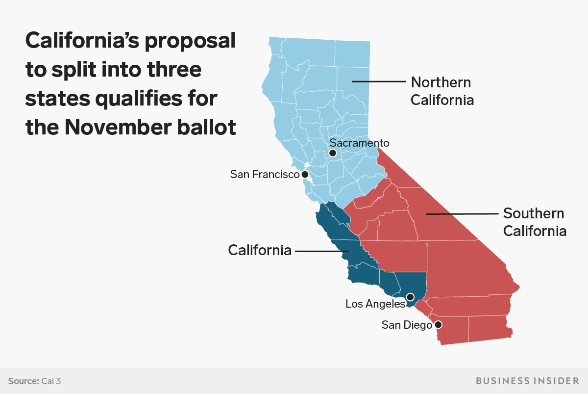 It Would Be Incredibly Difficult For California To Split Into Three - Divide California Map