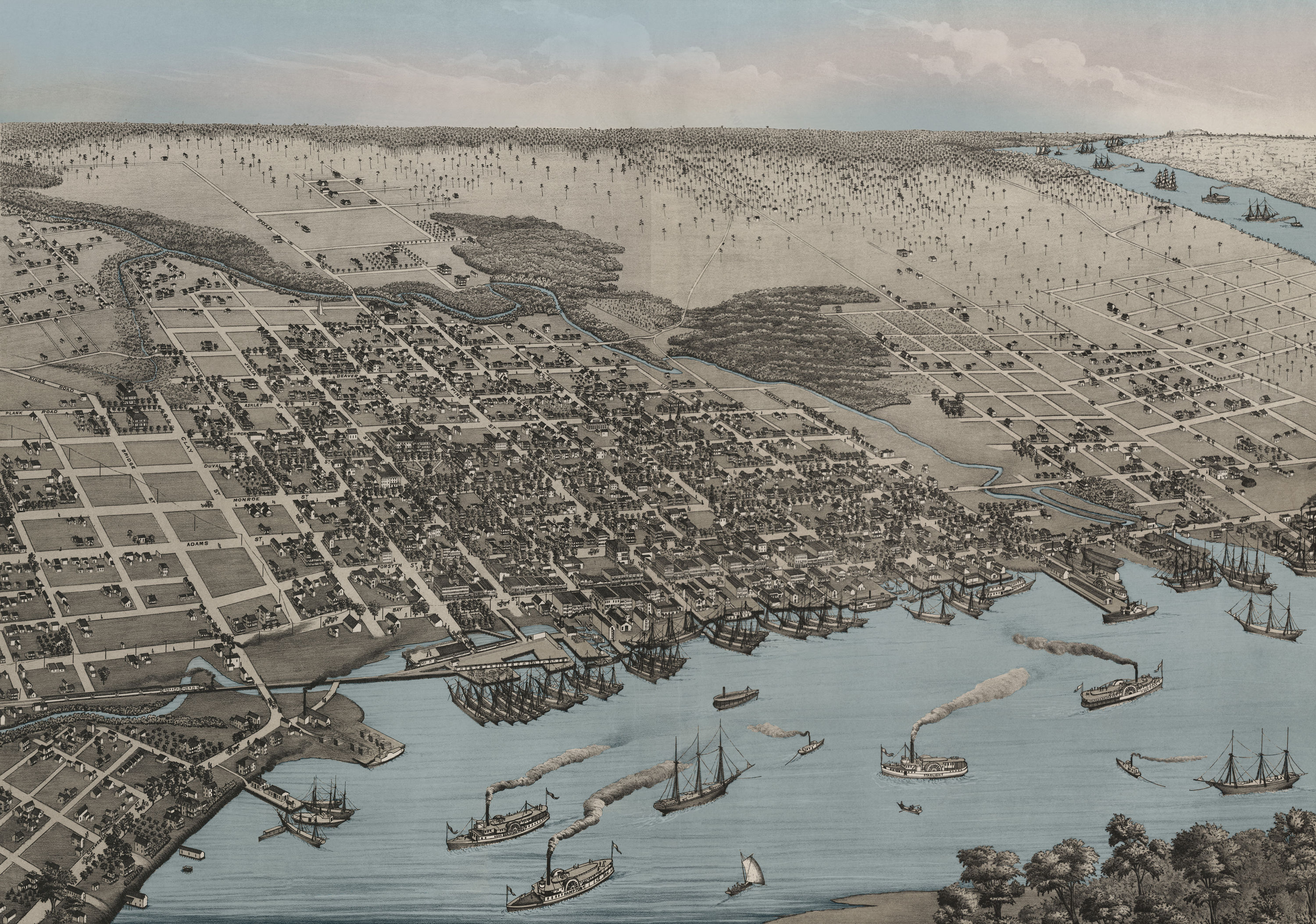 Jacksonville 1876 Birds-Eye View W/ Blue Water Wall Map - Old Maps Of Jacksonville Florida
