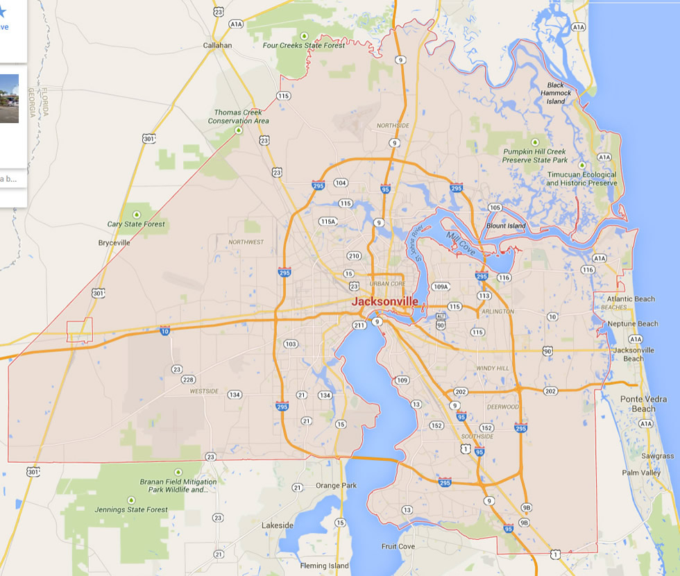 Jacksonville, Florida Map - Map To Jacksonville Florida